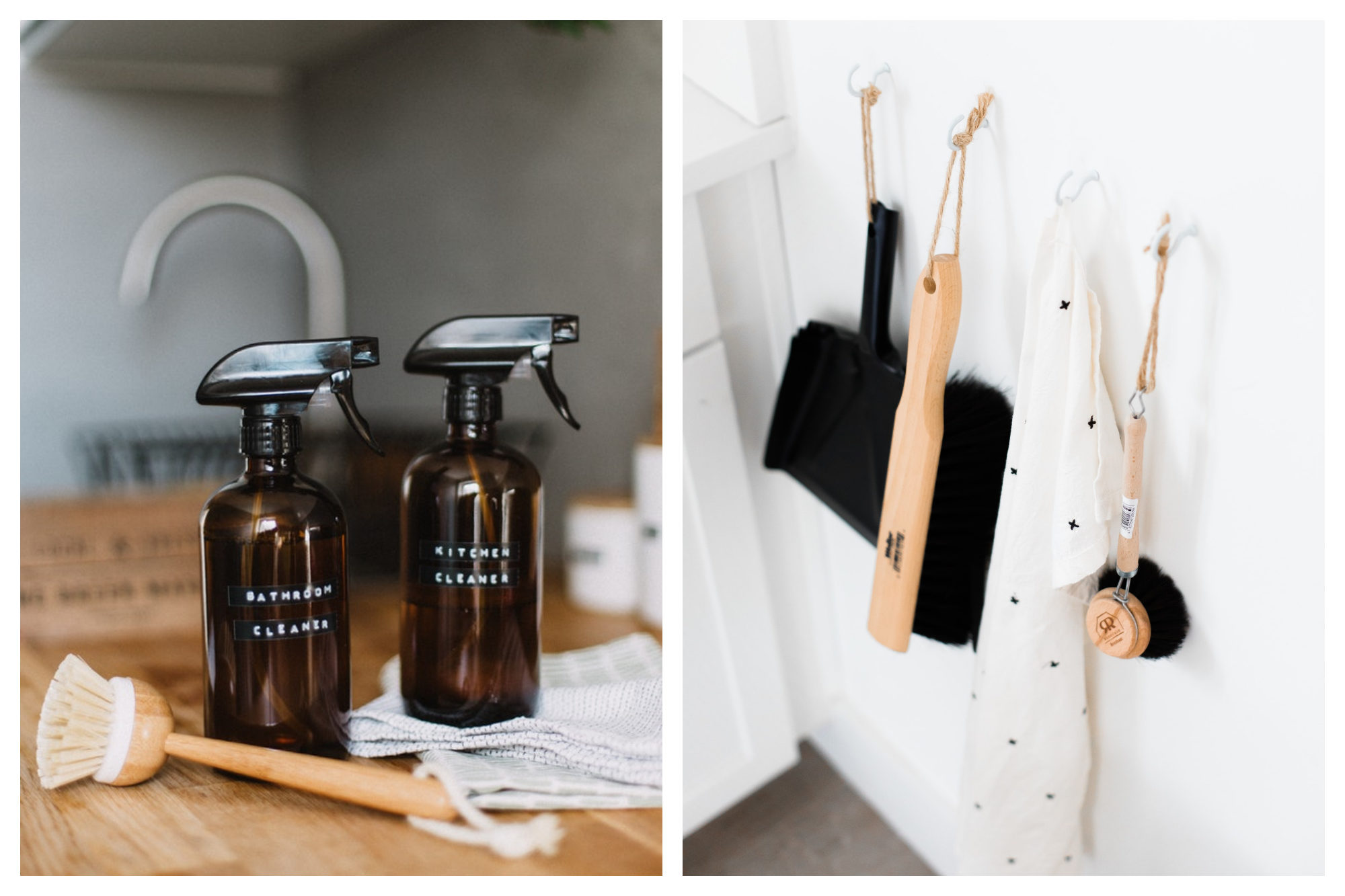 Zero-waste cleaning products and plastic-free brush on a wooden kitchen counter (left). Plastic-free dustpan and brush hanging in a kitchen (right).