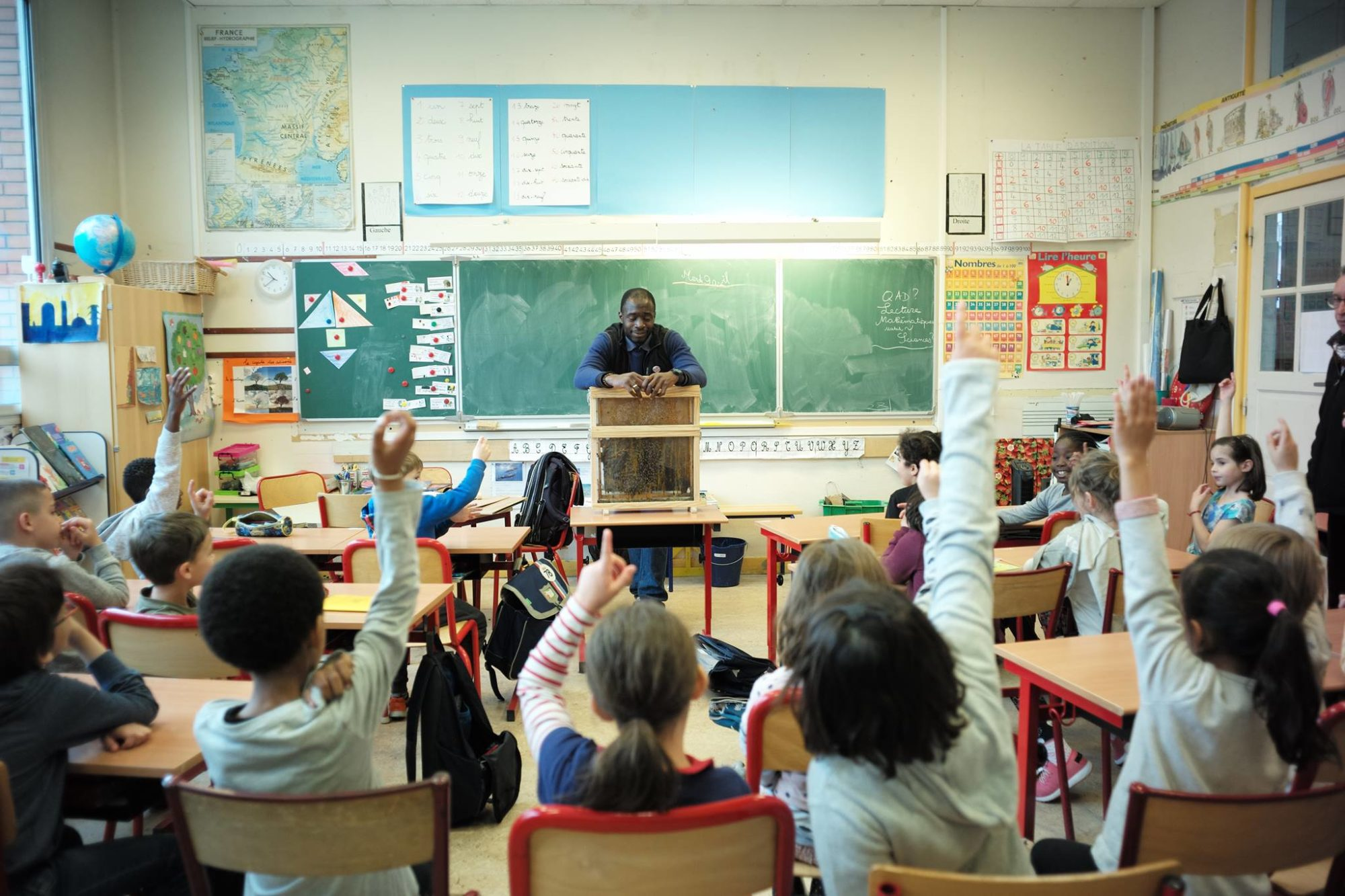A man teaches children about bees in a classroom.