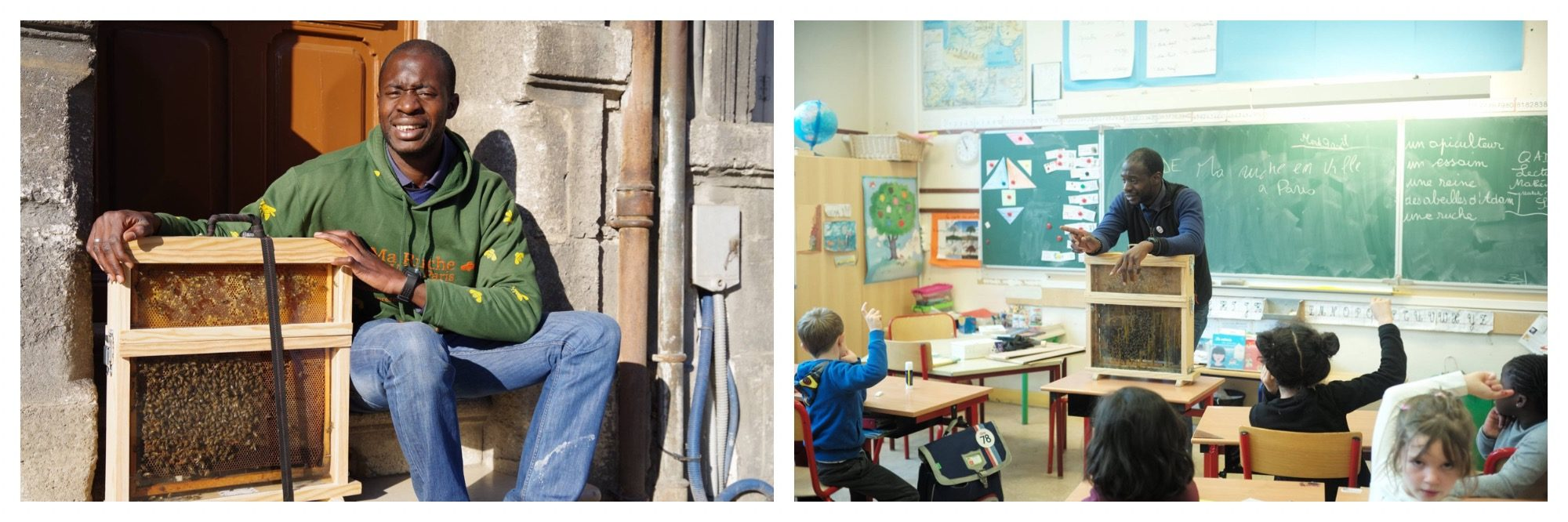 A man sits with his beehive (left). Teh same man in a classroom of small children, teaching them about the importance of bees (right).