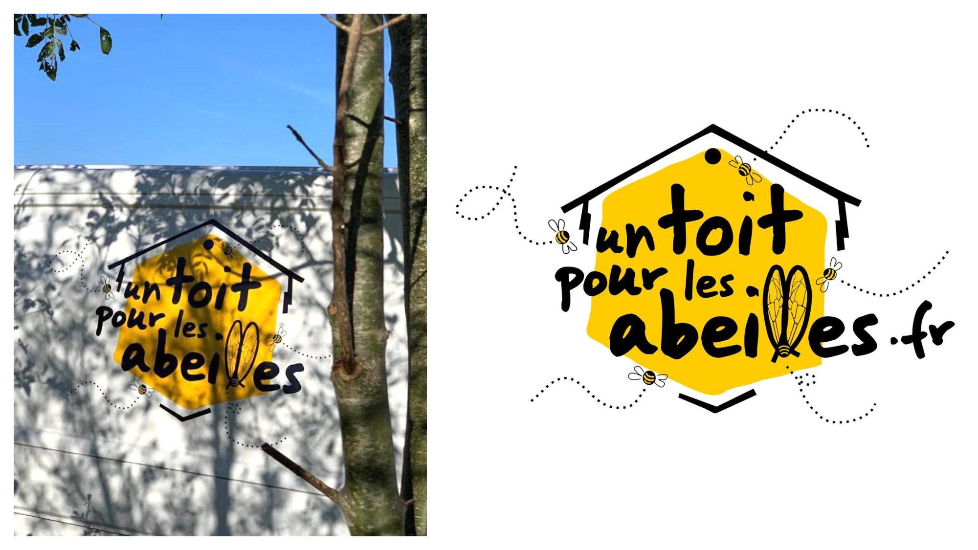 The yellow hexagon-shaped logo of Un toit pour les abeilles, an association that promotes beekeeping in Paris.