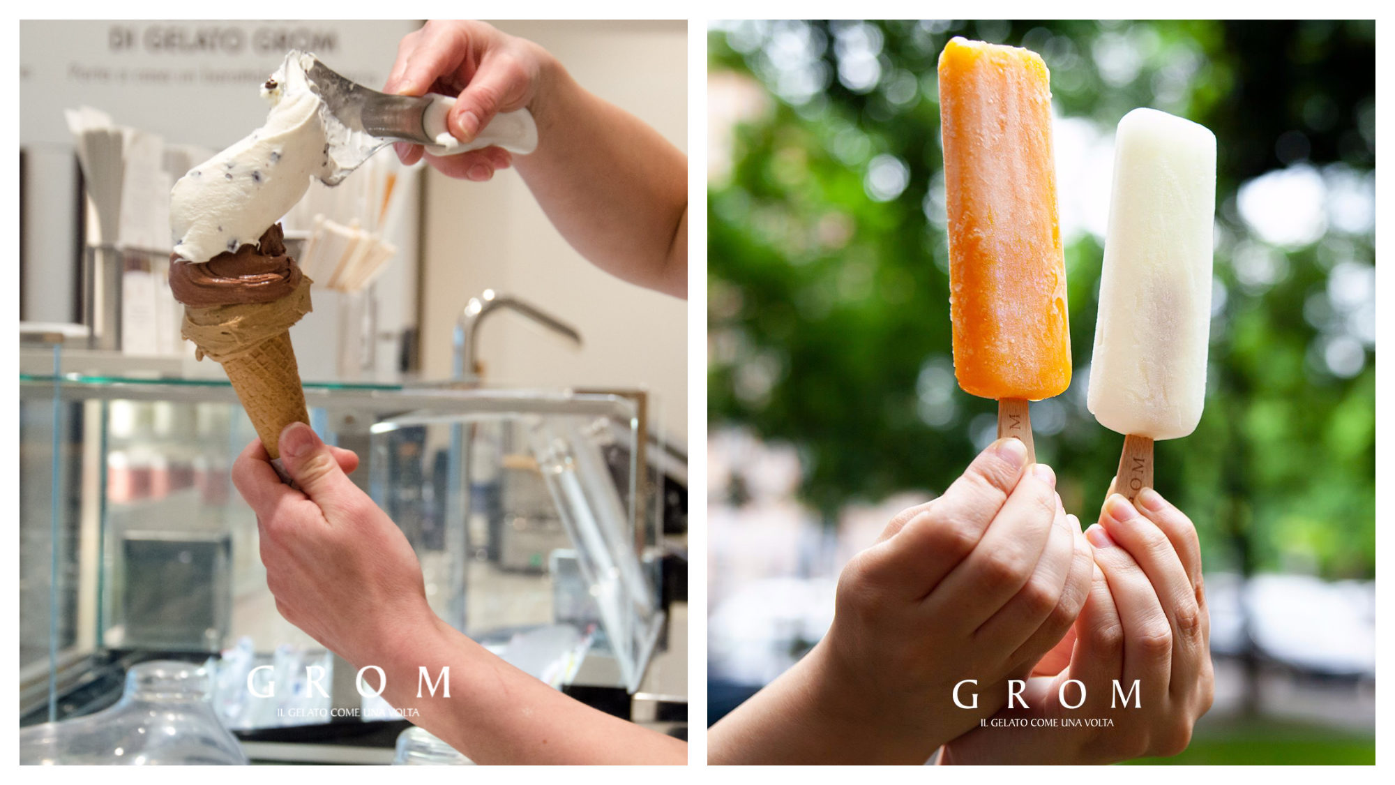A cone ice cream being served up (left) and two ice lollies, one orange, one white (right) at GROM.