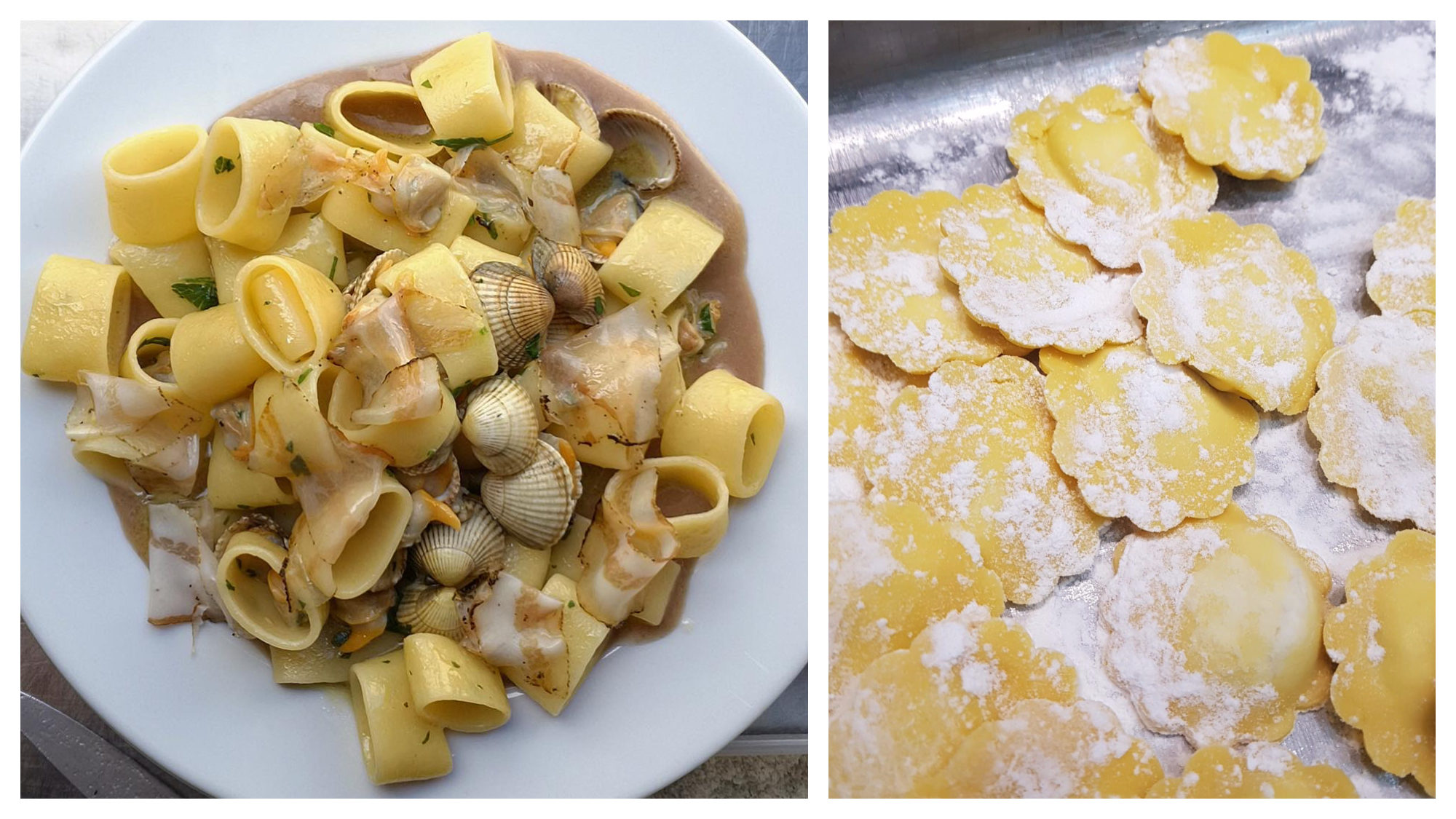 Mouth-watering hand-rollled clam and bacon pasta at Mimi Cave à Manger (left) and dry pasta being made at Manicaretti in Paris (right).