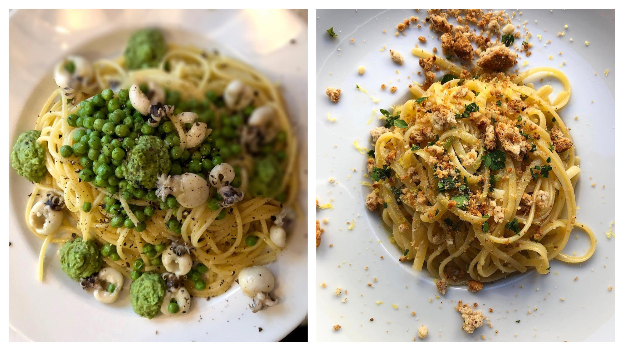 Mouth-watering spaghetti with peas and squid (left) and linguine with crumbly cheese (right) at Mimi Cave à Manger.