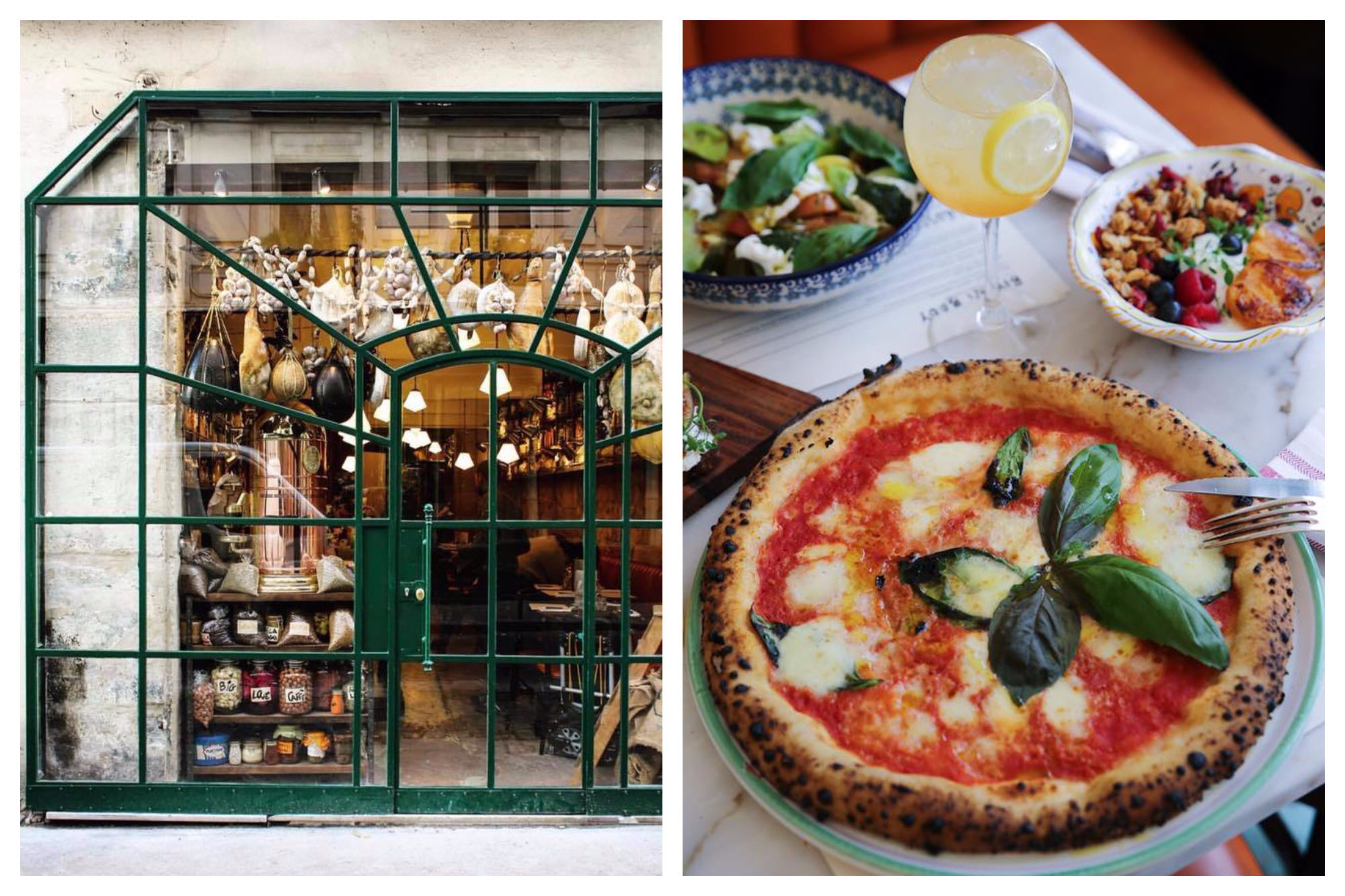 The green metal frame exterior of the BigLove Caffè in Paris with hams hanging in the window (left) and one of their margherita gluten-free pizzas set on a table next to a salad (right).