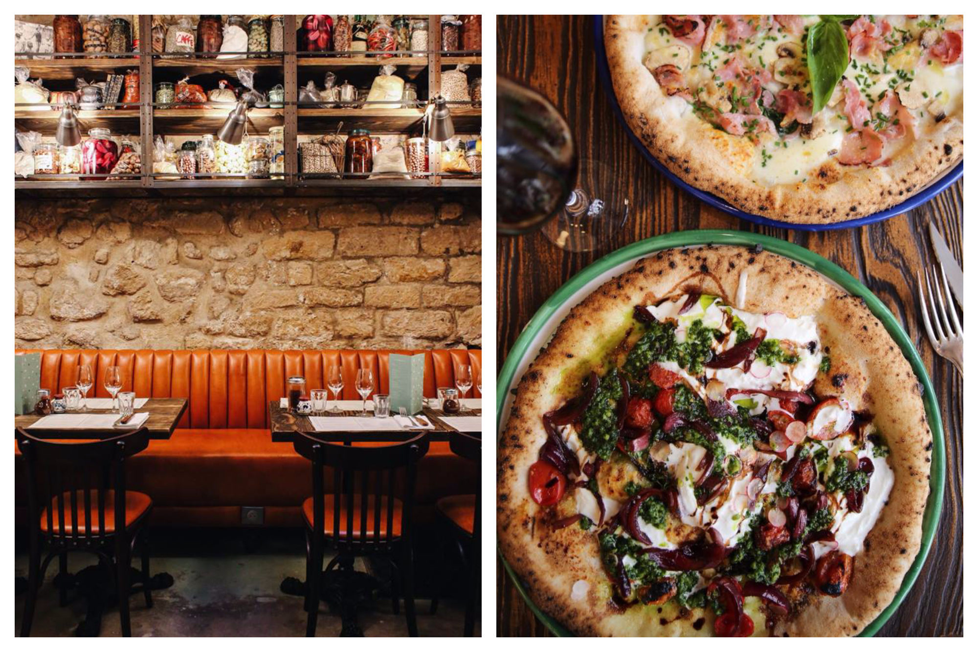 The shabby chic interiors of BigLove Caffè, with exposed stone walls, waxy orange banquettes and rickety shelving stacked with sundries (left). Two gluten-free pizzas, one with veggies and the other with ham, set on a wooden table besides a glass of red wine (right).