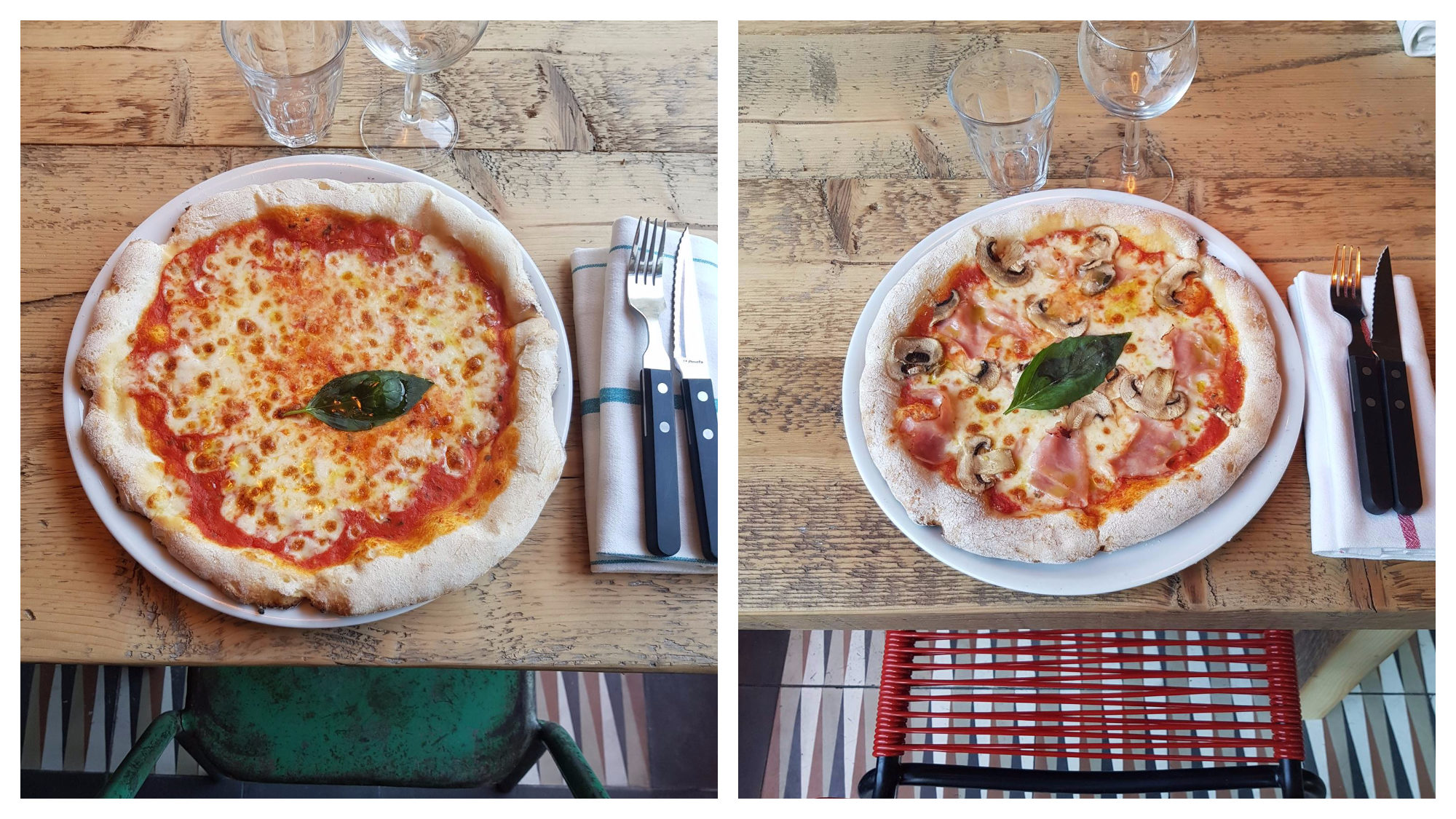 Two gluten-free pizzas, one a margherita (left) and one a ham and mushroom (right), set on a wooden table at Little Nonna.