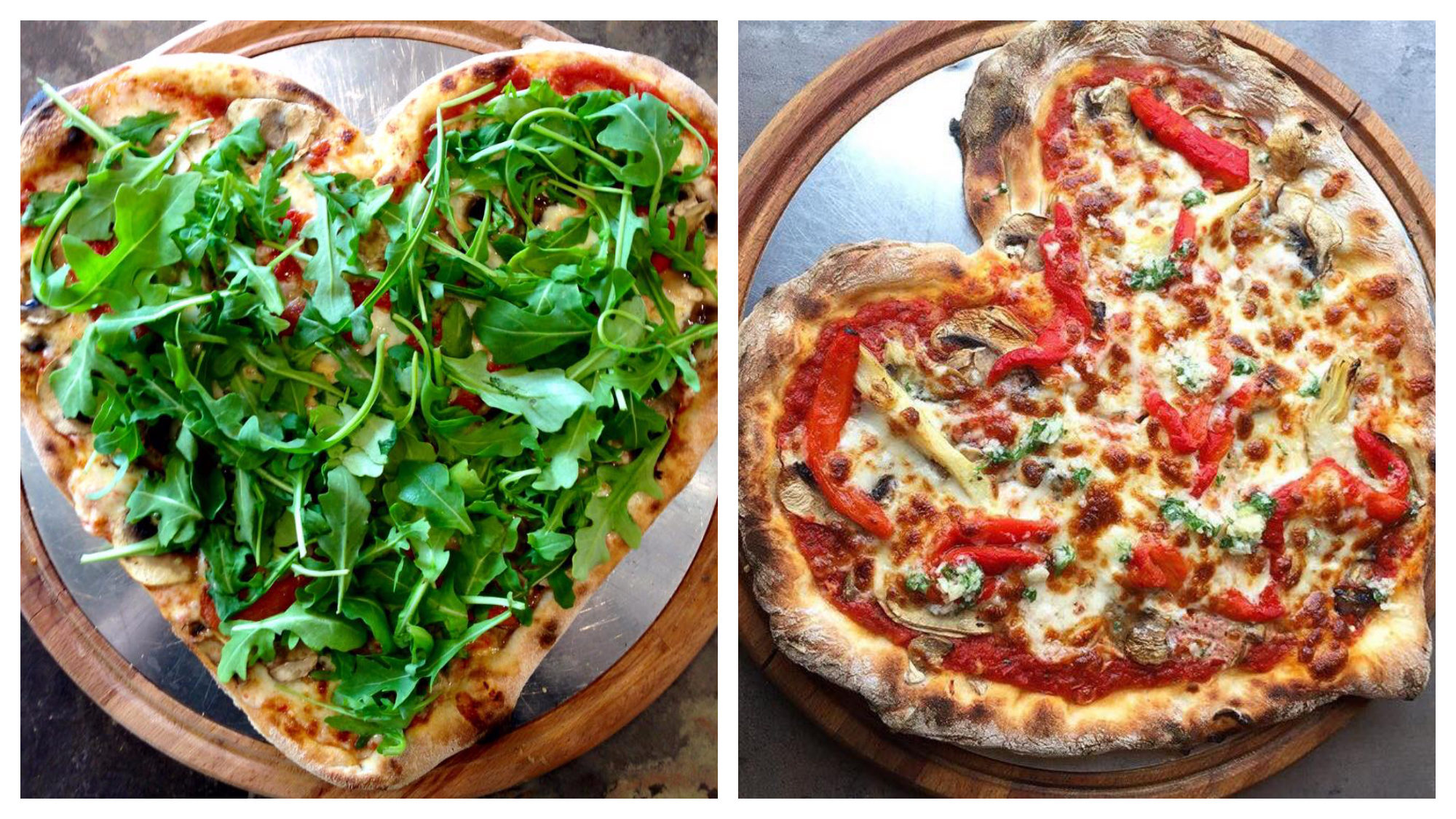 Heart-shaped gluten-free pizzas from Il Quadrifoglio in Paris. One has plenty of rocket leaves (left) and the other red peppers (right).