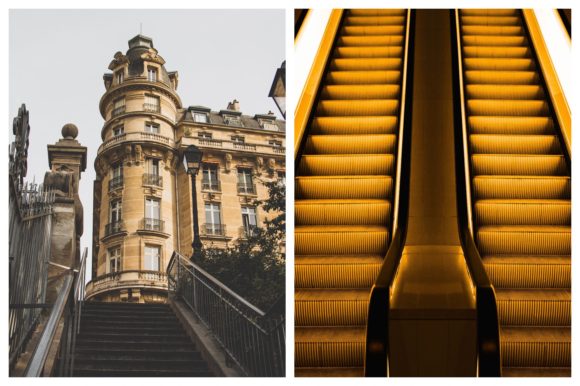 A view of an ornate honey colored building at the top of a flight of stone stairs (left). A pair of elevators under a bright yellow light (right).