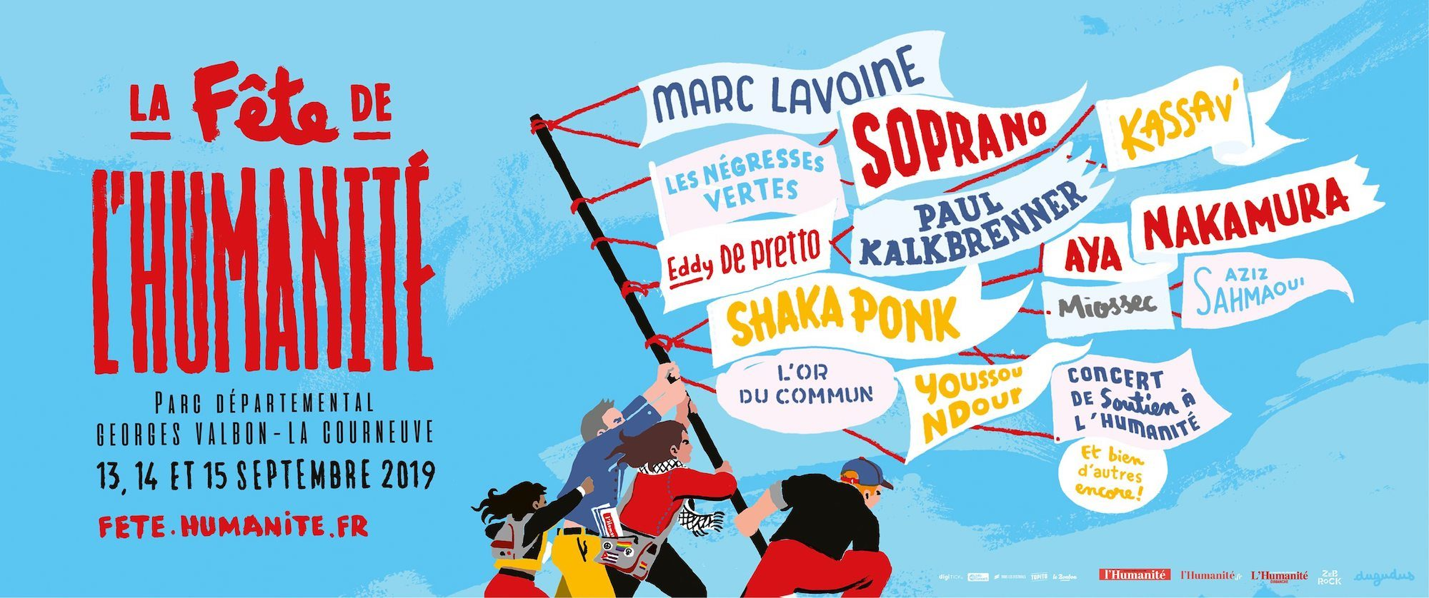 An illustrated poster for Fete de l'Humanité, showing people flying flags with the names of the musicians lined up to perform a the festival.