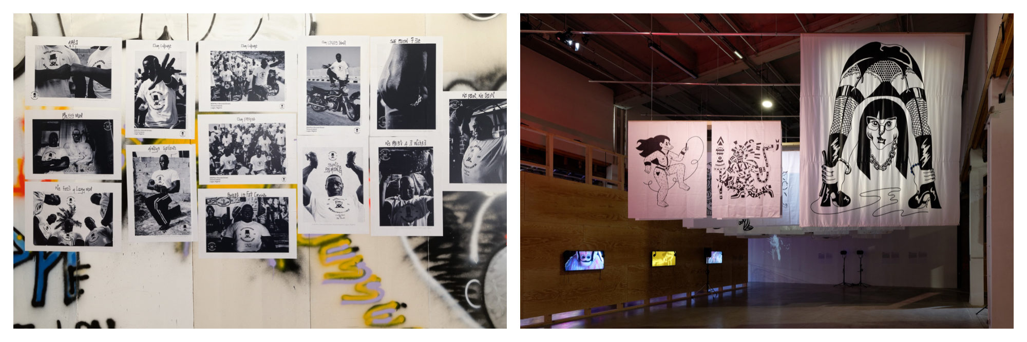 Black and white photos on a wall (left). Illustrations on large white sheets hanging at an exhibition space (right).