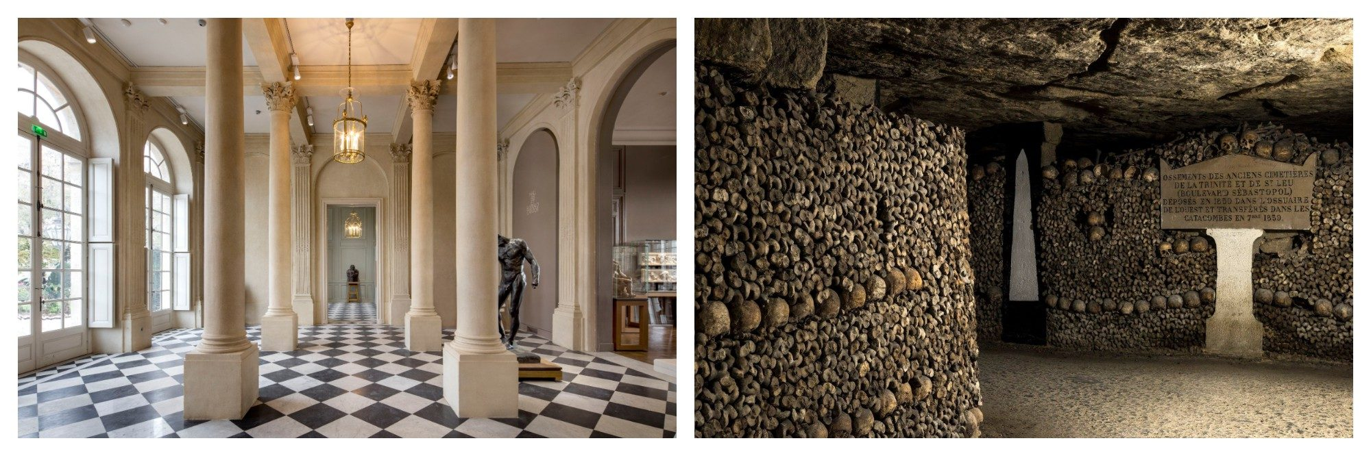 The interior of the Musée Rodin in Paris with pillars and black and white tiles. A wall of skulls and an plaque with an inscription at the catacombs in Paris.