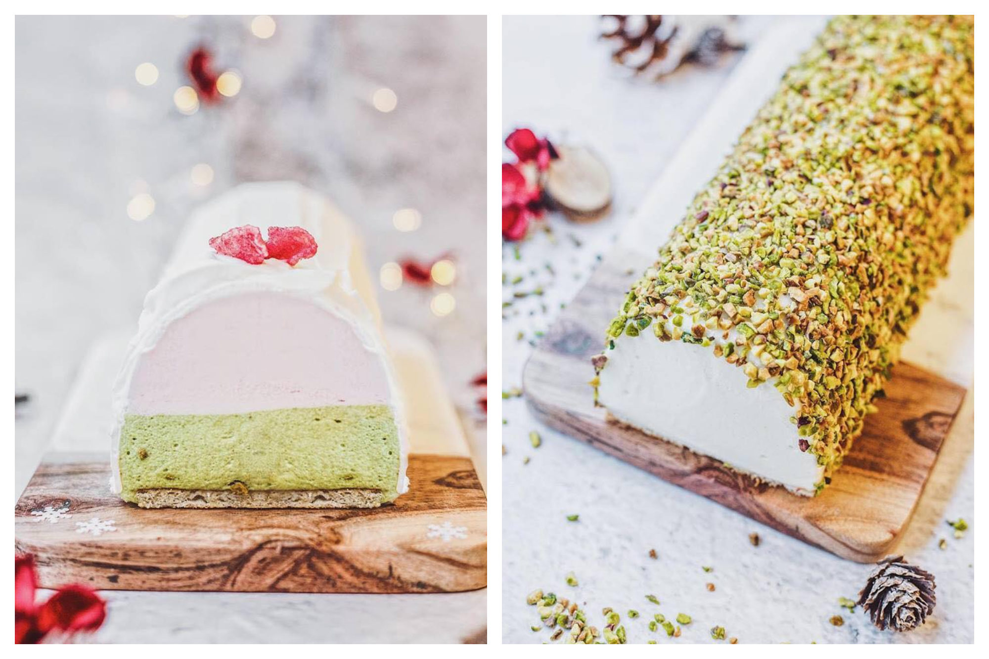 A strawberry and pistachio ice cream cake covered with crushed pistachios