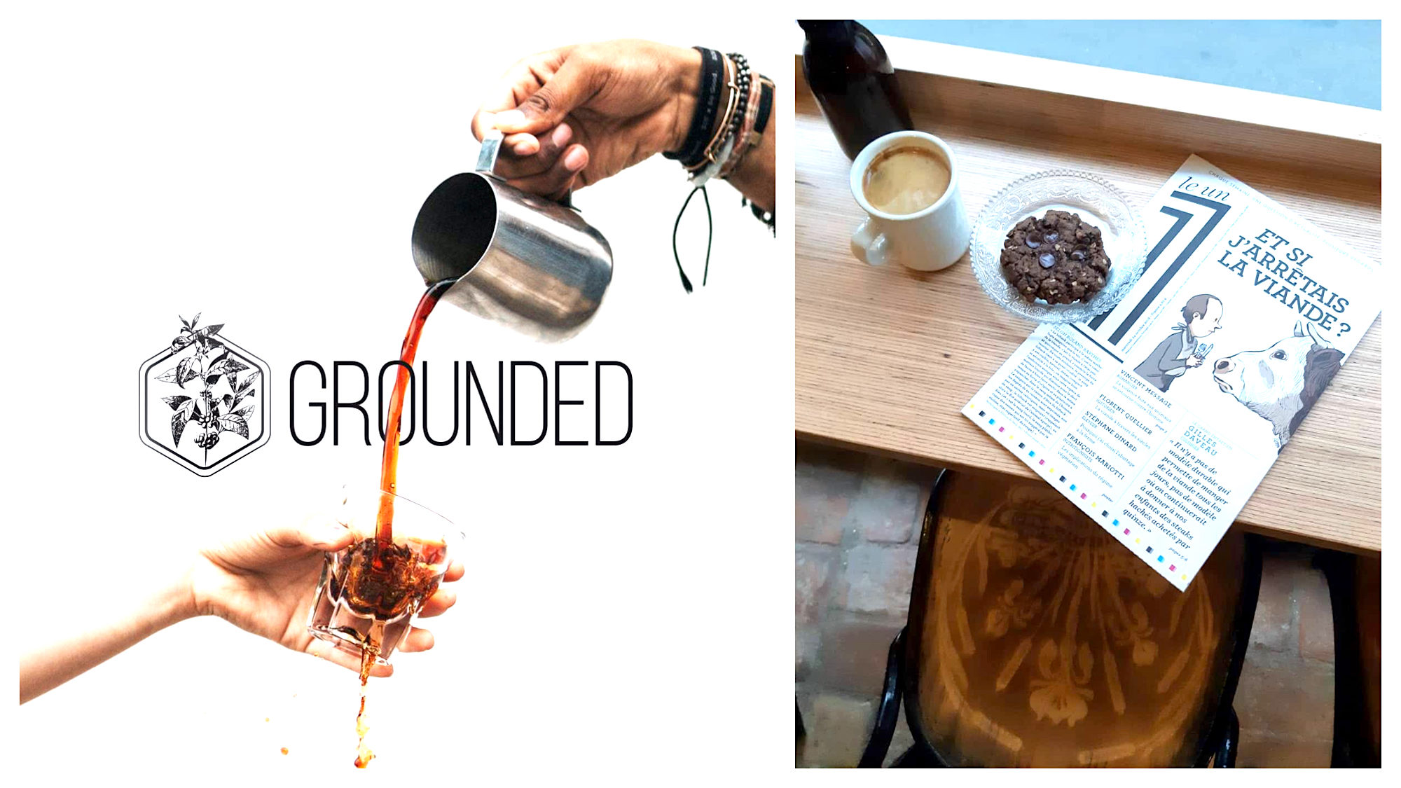 A poster for 'Grounded' coffee shop in Paris with someone serving coffee and spilling it (left). A wooden bench-table with a cup of coffee, a cookie and an issue of 'Un', a French magazine at vegan coffee shop Grounded (right).