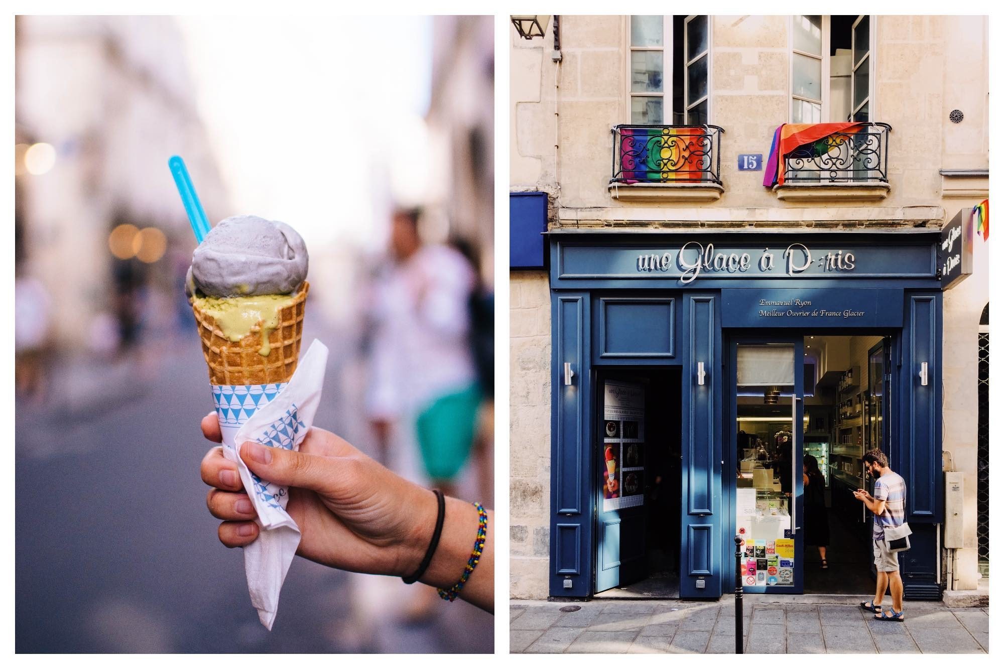 Two scoops of ice cream in a cone being help up by a person's hand (left). The blue exterior of Paris ice cream shop Une Glace à Paris (right).