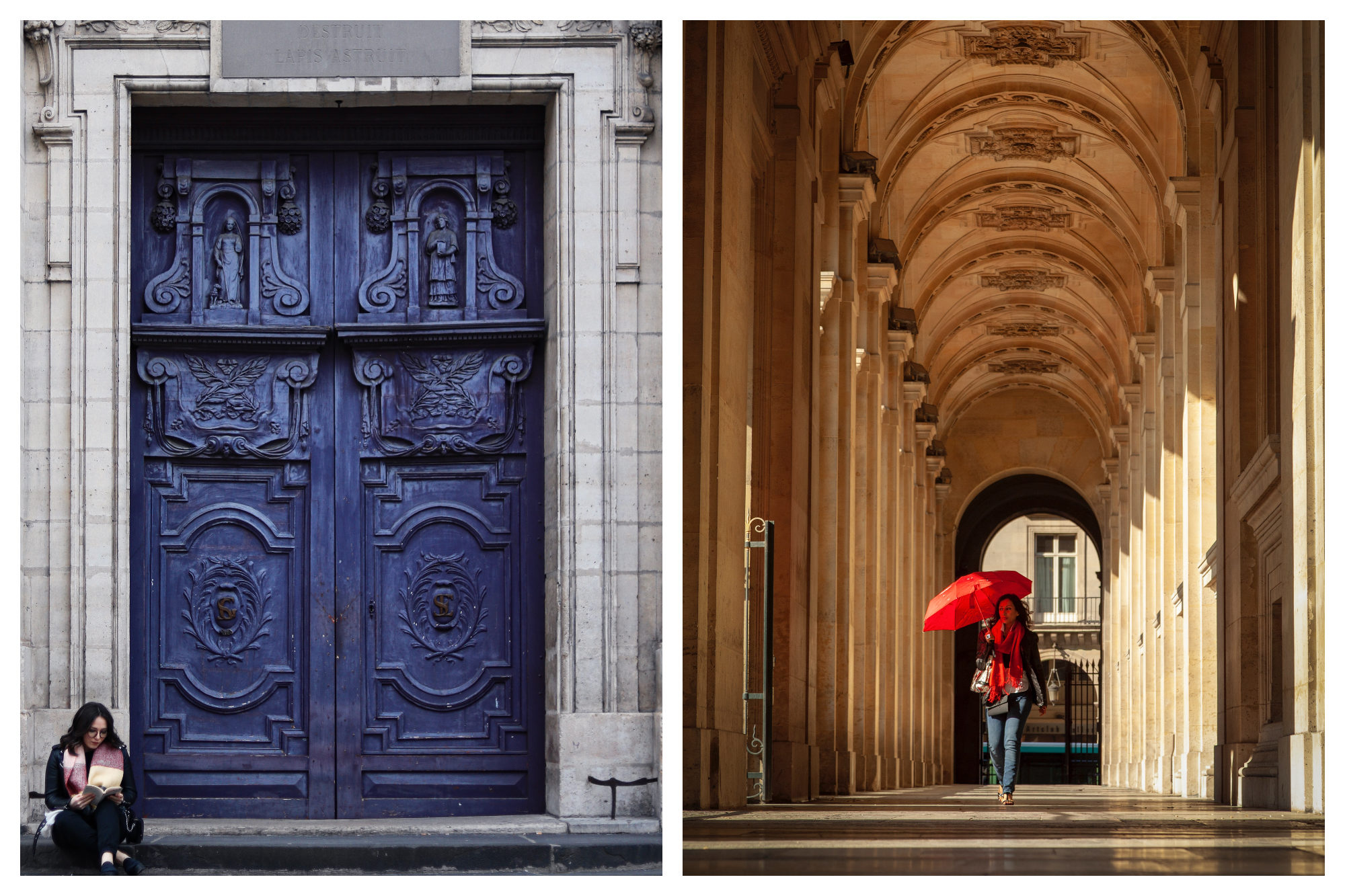 A beautifully carved wooden blue door with a woman sitting on the step reading (left). The arches surrounding the Jardin du Palais Royal with sunshine filtering through and a woman walks holding up a red umbrella (right).