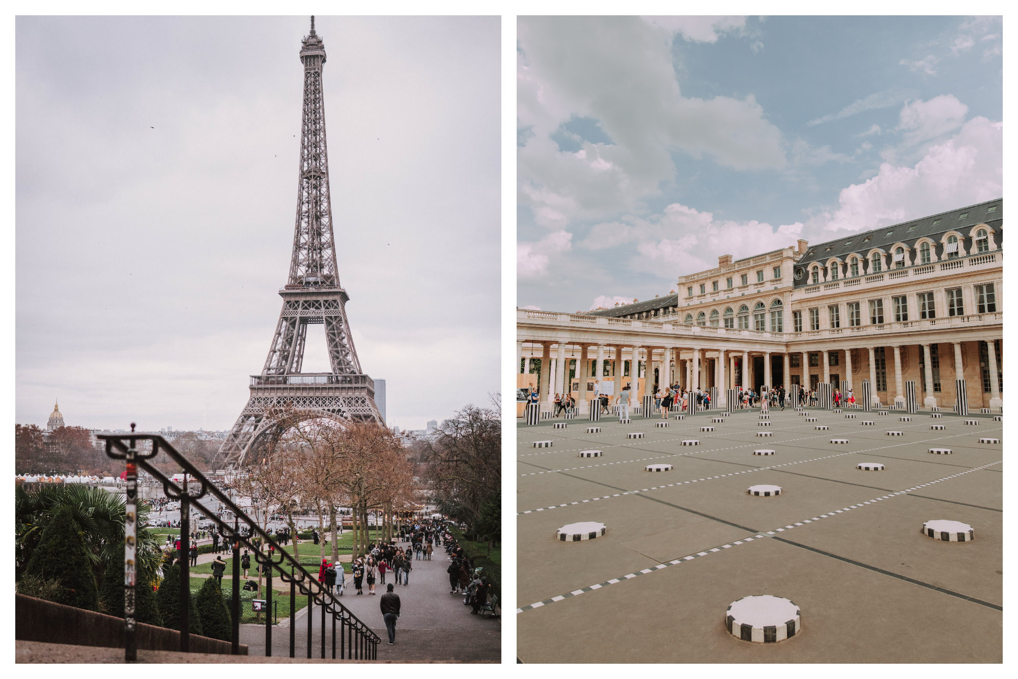 A view of the Eiffel Tower under gray skies in winter (left). Buren's columns art installation in the Jardin du Palais Royal (right).