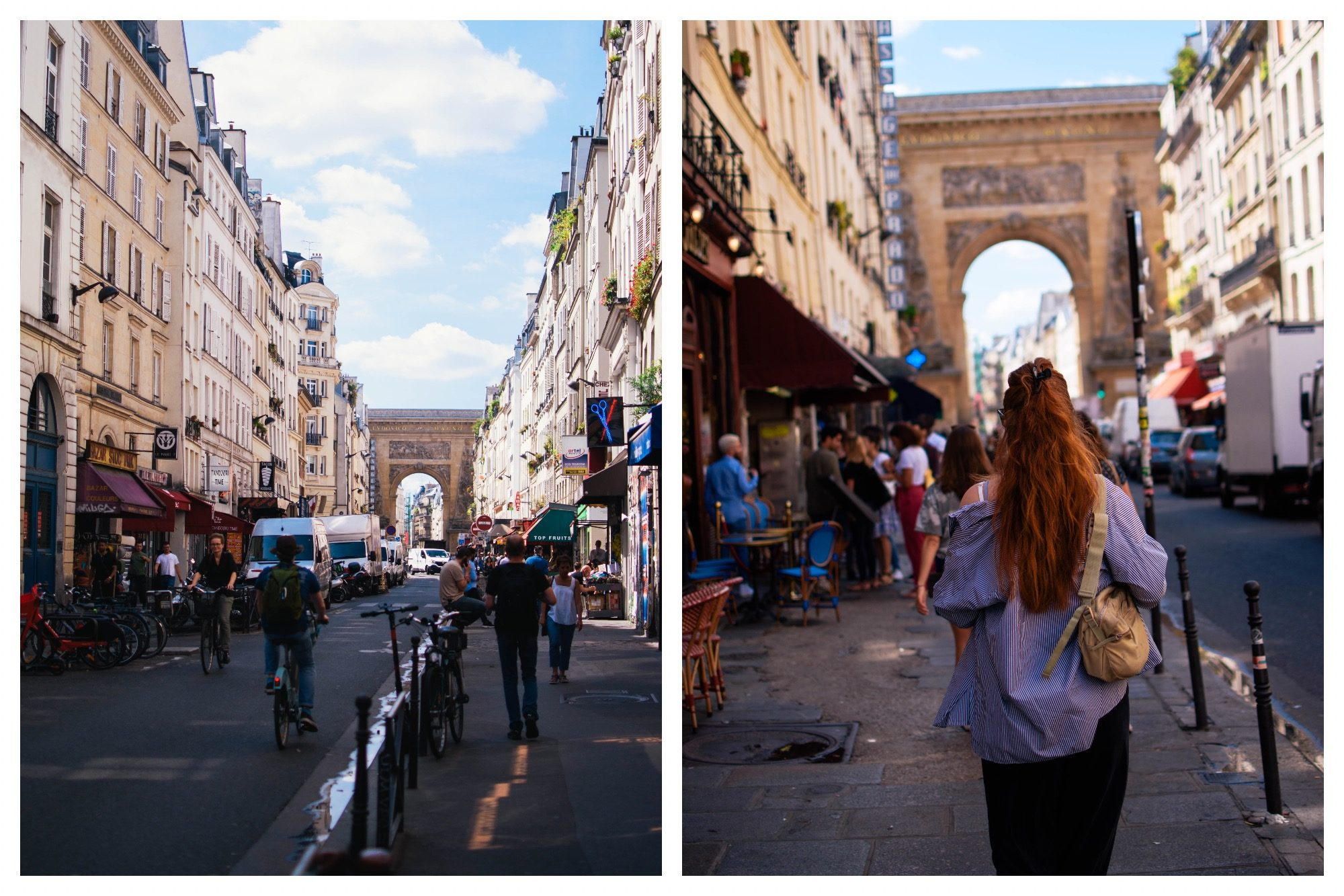 Street scene from the Faubourg Saint Denis (left) with the stone arch, formerly one of the doors of the city and a girl seen from the back with long red hair walking along the street (right).