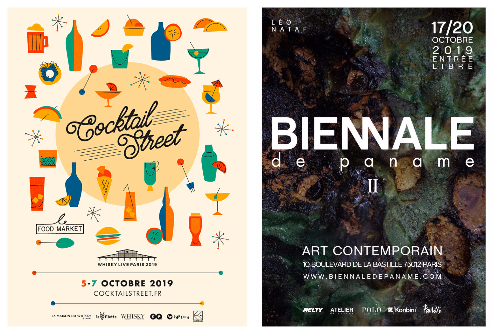 A poster for the Cocktail Street event in Paris this October (left) and a poster for the Biennale de Paname art event (right).