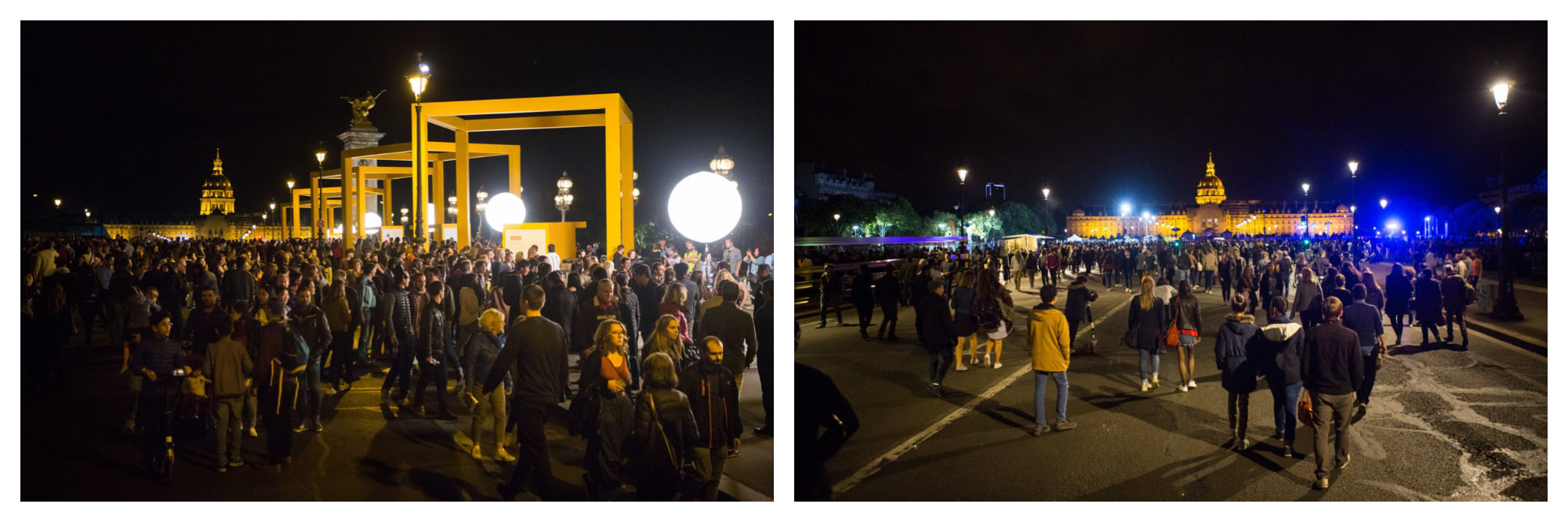 The crowds exploring the art installations around Paris at night during Nuit Blanche.