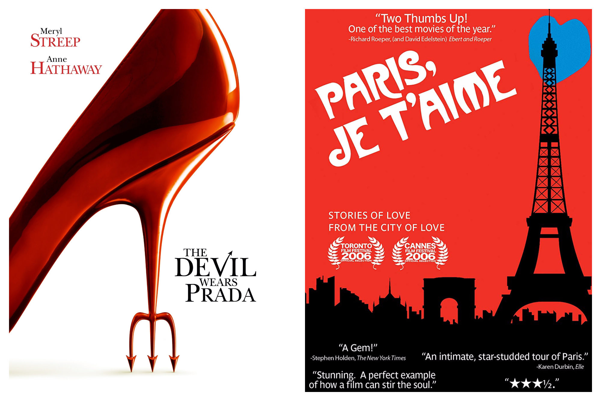 "A poster for the movie ""The Devil Wears Prada"" (left) and a poster for the collection of short films ""Paris, Je t'Aime."""