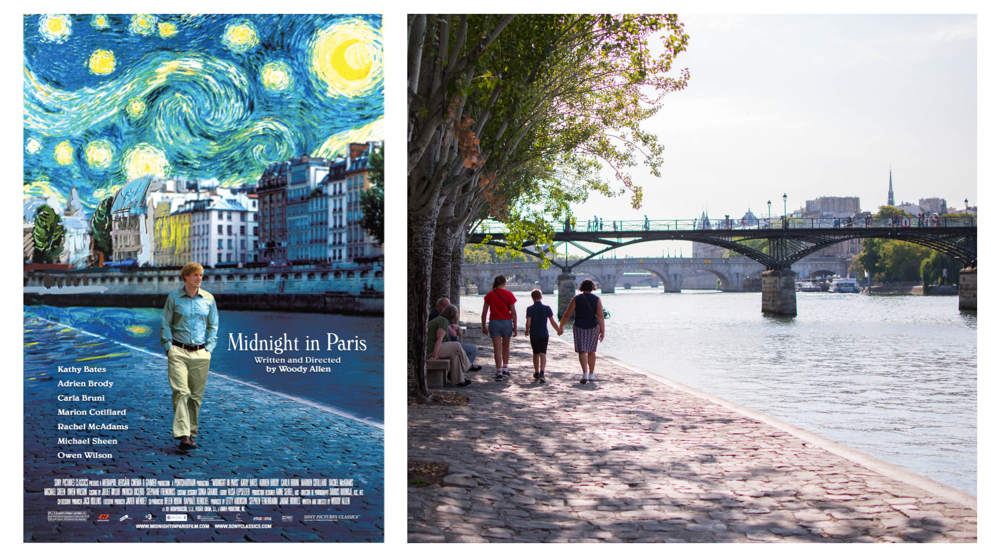 "A poster for the movie ""Midnight in Paris"" (left). Three people strolling along the cobblestone banks of the River Seine in the sun (right)."