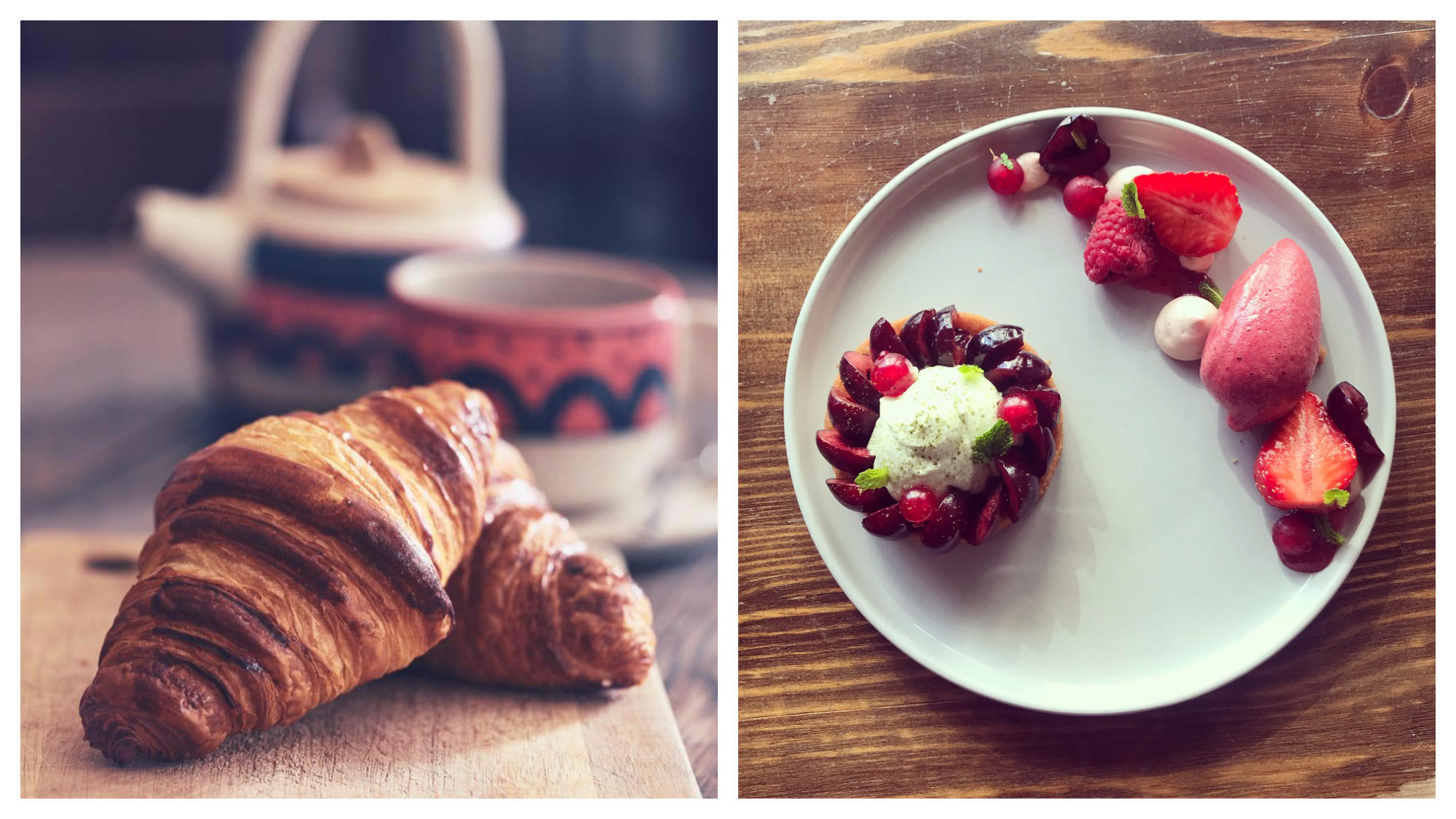 Café Mirabelle is a top spot for coffee and cake in Paris, especially its crusty croissants (left) and fruit meringue tarts (right).