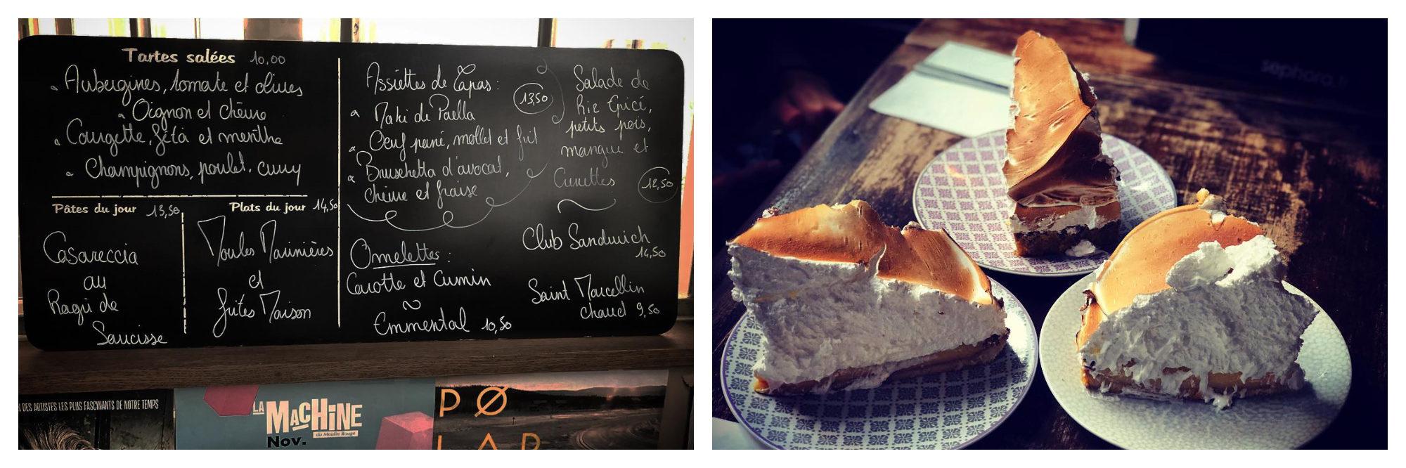 The menu on the chalkboard at Le Loir dans la Théière (left) and an assortment of cakes (right).