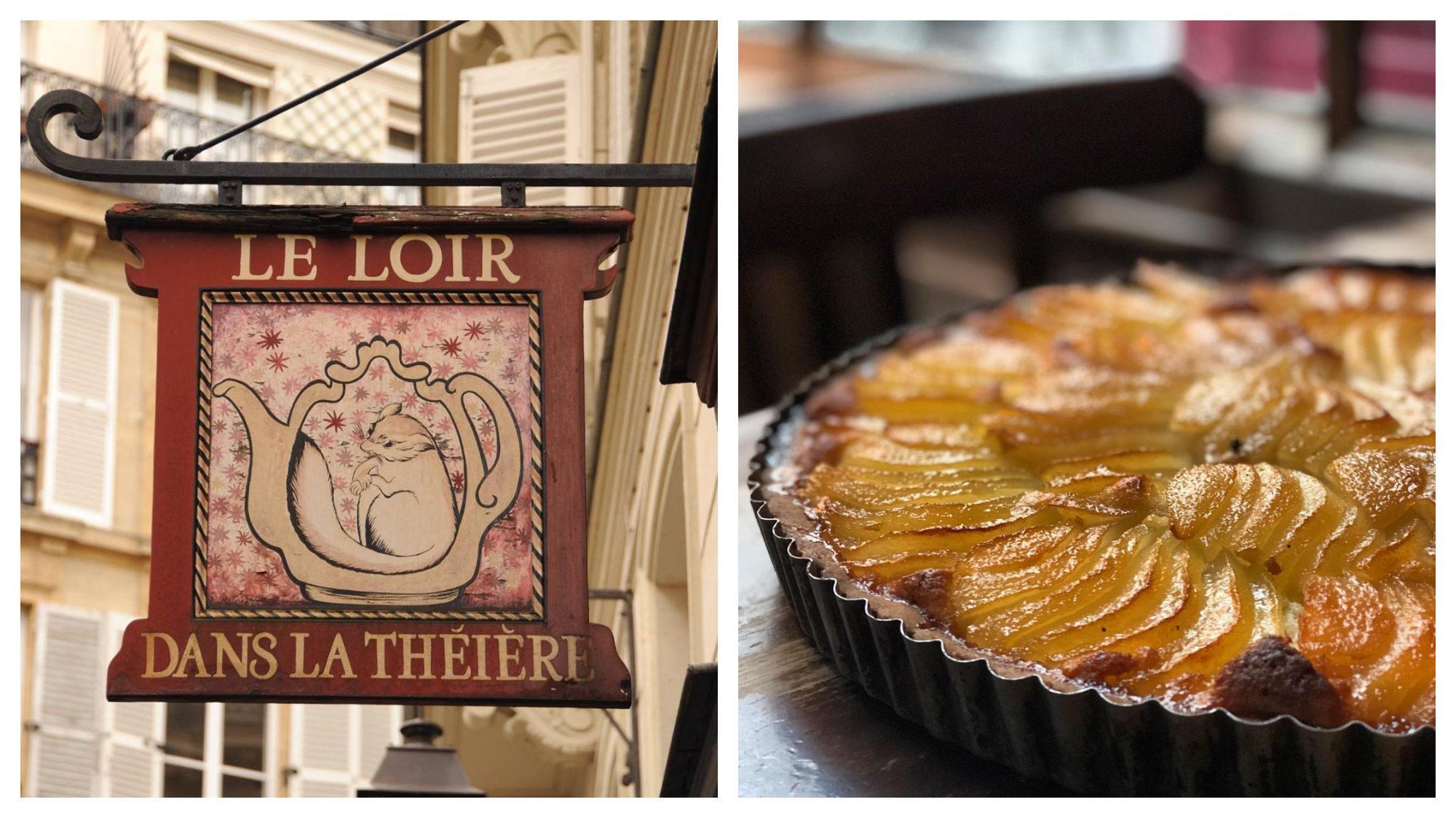 The sign of Le Loir dans la Théière café in Paris' Marais area (left) and a pear tart on a wooden table (right).