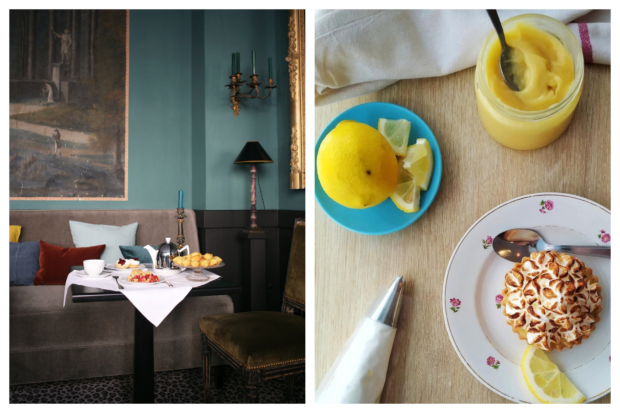 MIss Marple is a cozy spot for coffee and cake with its grey velvet couches and blue walls (left) as well as a Café CC for its lemon curd tart (right).