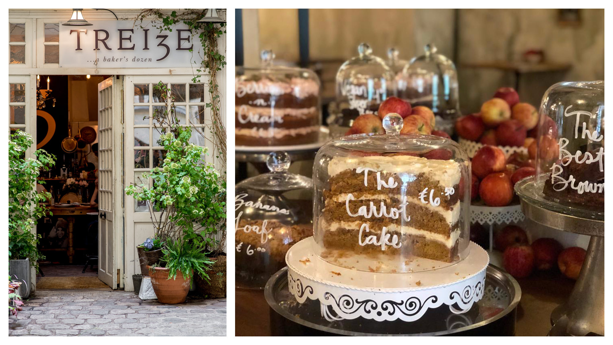 The doorway to the old location of Treize bakery (left) and its delicious cakes like carrot cake under glass bells (right).