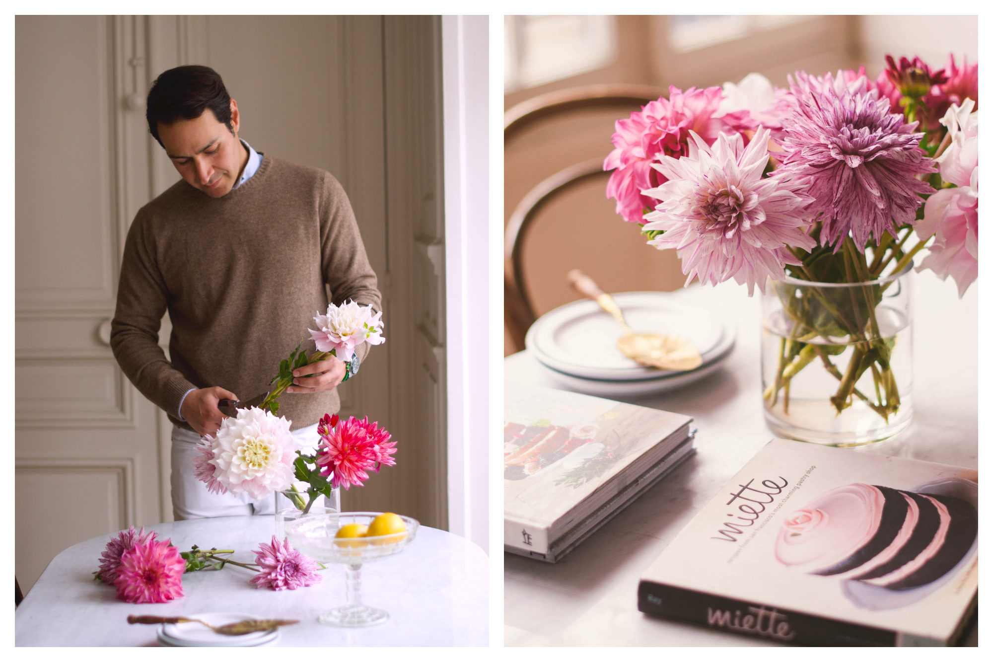 Franck arranging pink dahlia flowers in his Paris apartment (left). A vase of delicate pink and purple dahlias on a table next to Frank's favorite cookbooks (right).