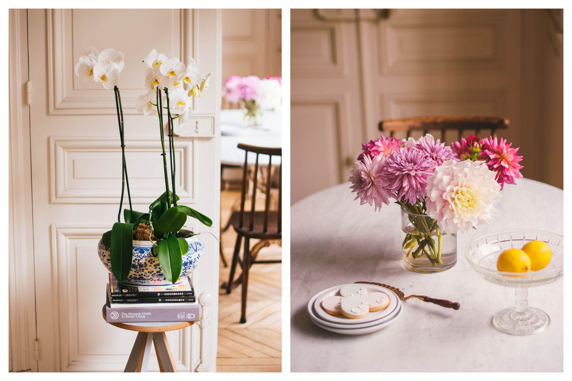 A ceramic pot of white orchids standing on books on a wooden stool inside Frank's dreamy Paris apartment (left). A vase of pink and purple dahlias on a table next to some of Frank's biscuits (right).