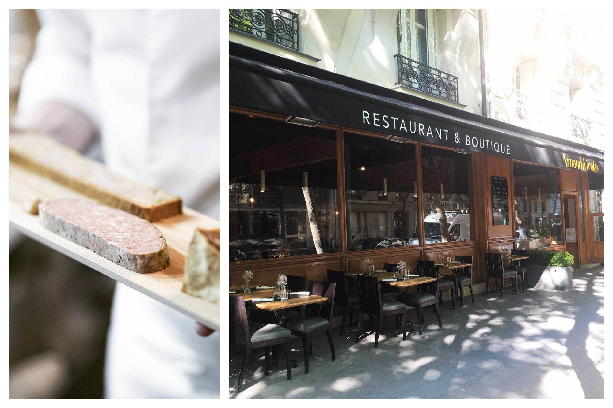 A slab of homemade terrine (left) and the outdoor terrace seating in the sunshine (right) at Arnaud Nicolas' restaurant near the Eiffel Tower in Paris.