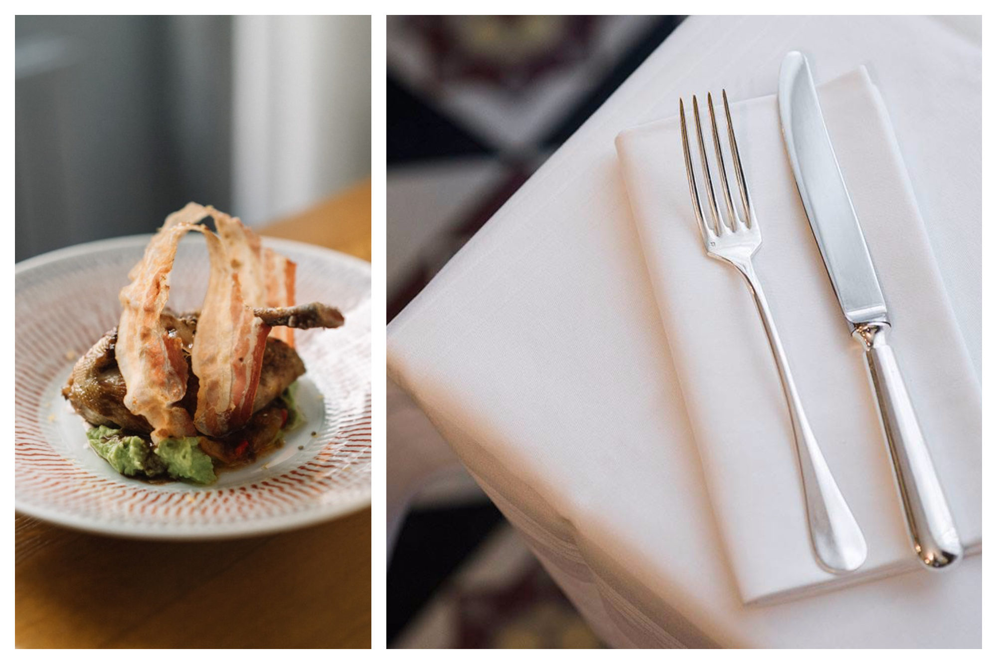A signature dish of duck confit (left) and silver cutlery laid out on crisp white tablecloth (right) at Bistro Belhara near the Eiffel Tower.