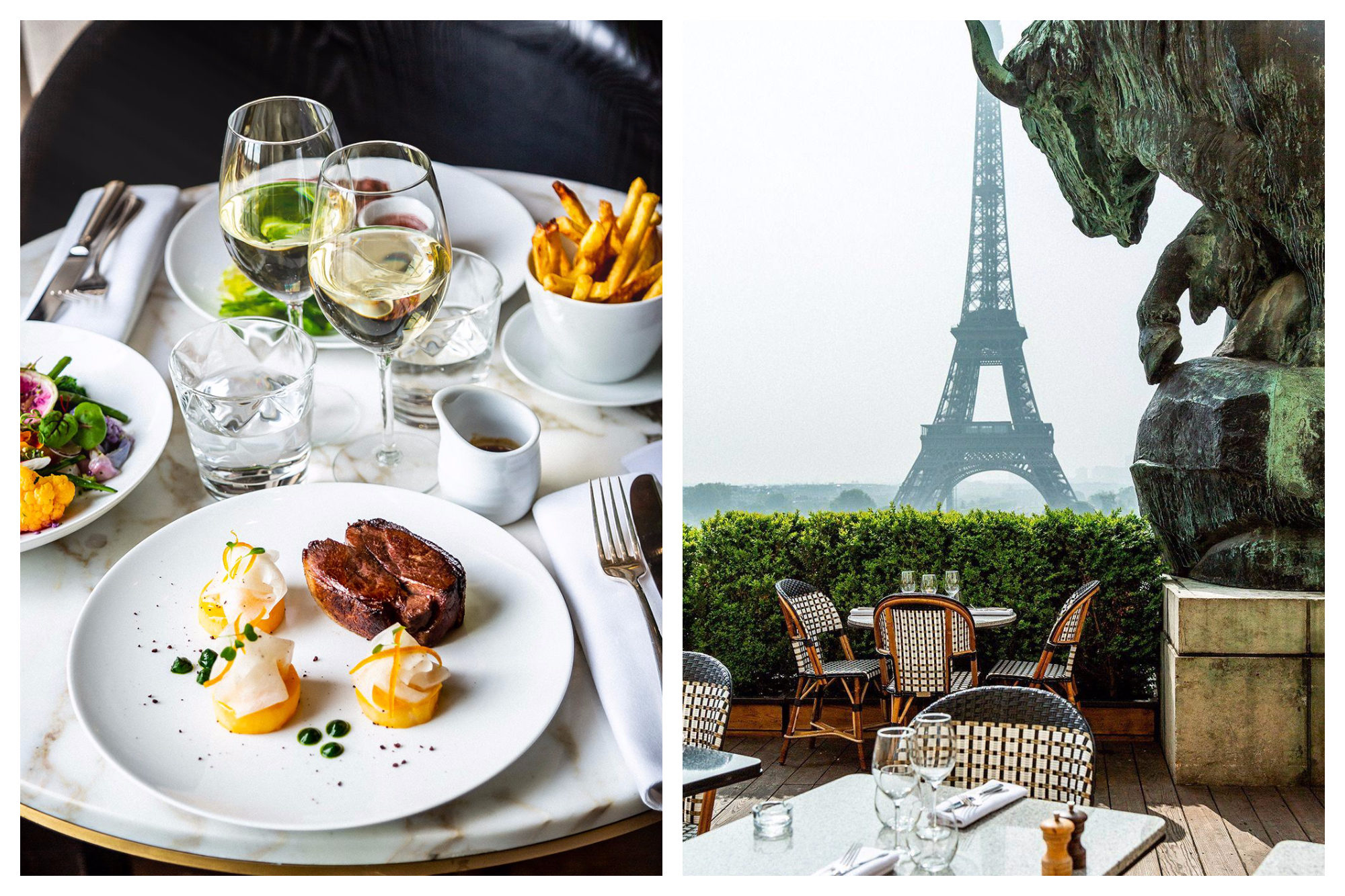 A beautifully laid table with a spread of contemporary steak and fries (left) and the outdoor terrace with a breathtaking view of the Eiffel Tower (right) at the Café de L'Homme in Paris.