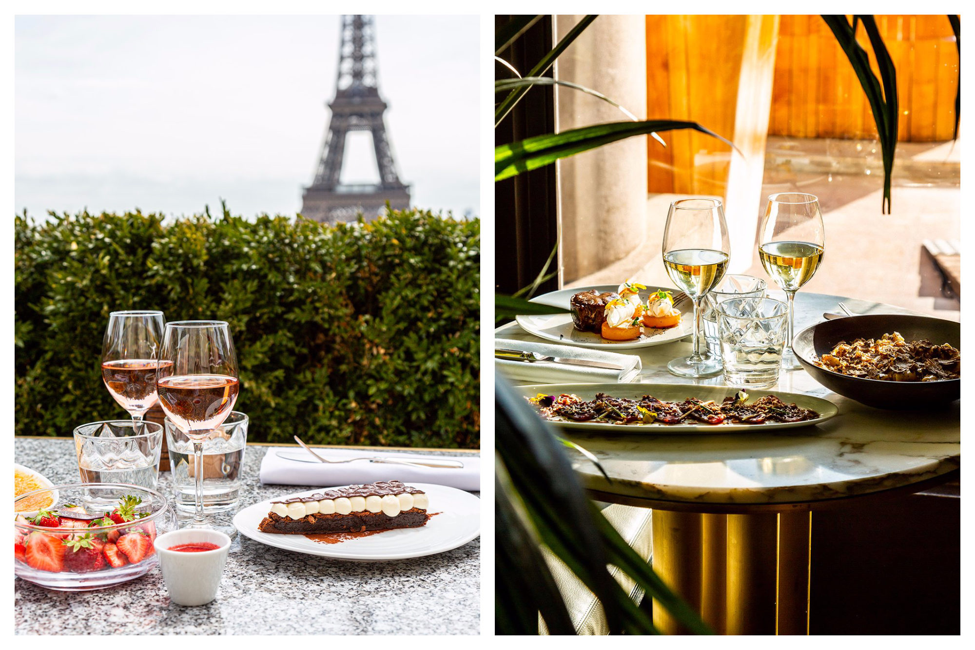 An outdoor table with desserts and rosé with an Eiffel Tower backdrop (left) and a table inside with signature dishes of carpaccio and truffle pasta (right) at the Café de L'Homme in Paris.