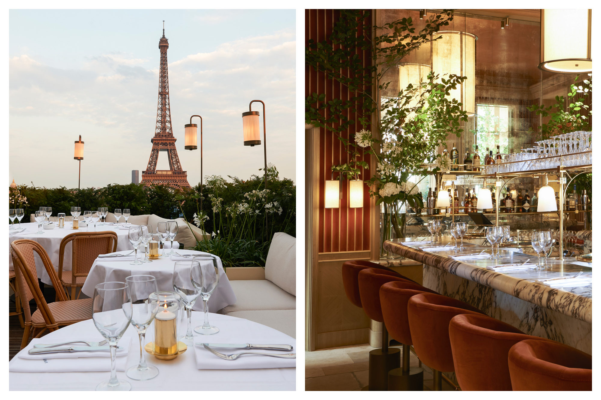 Tables dressed in crisp white tablecloths with an Eiffel Tower backdrop (left) and the gorgeous glamorous marble interiors (right) of Girafe restaurant in Paris.