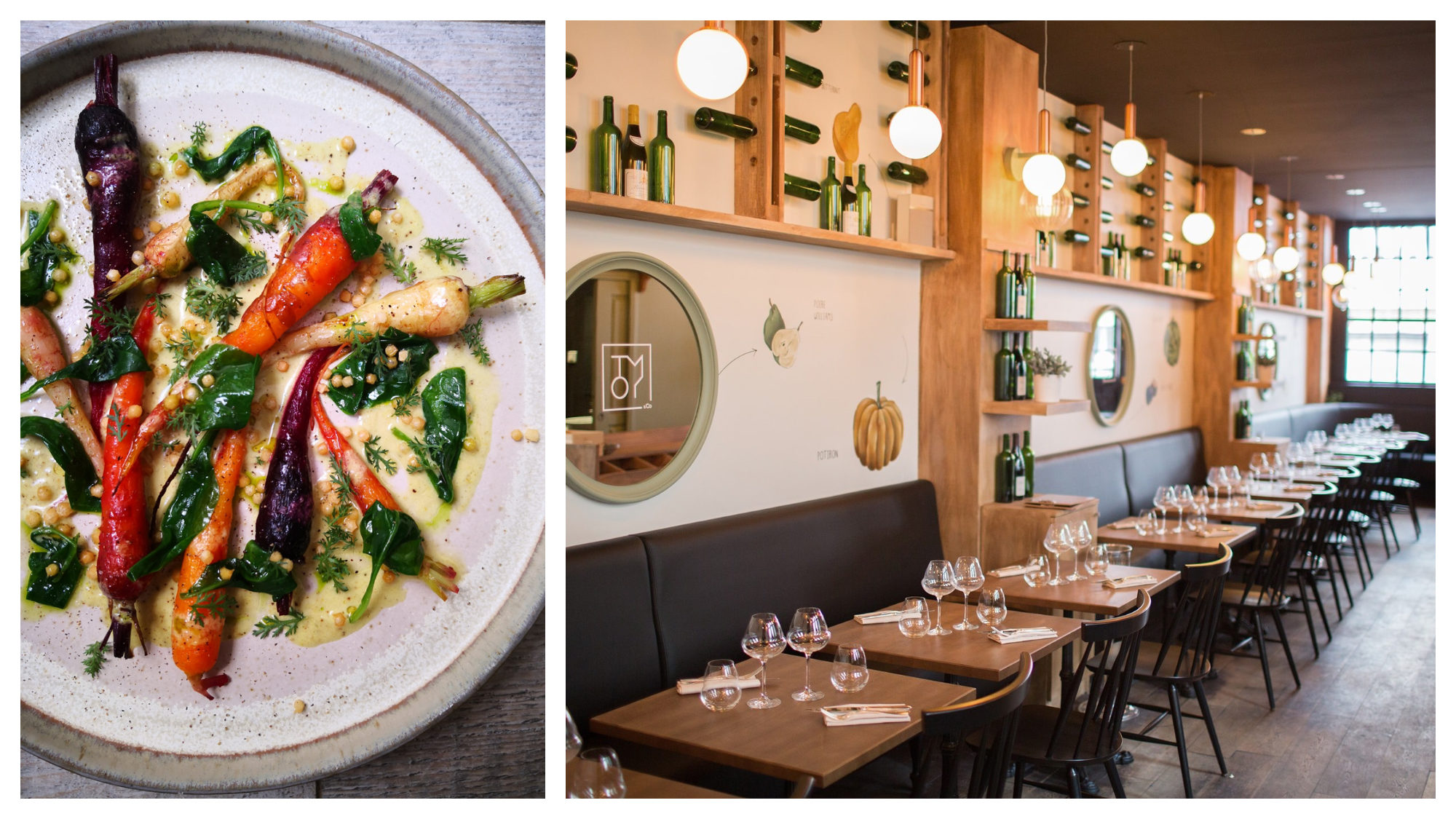 A delicious and colorful vegetable dish (left) and the warm interiors of timber tables and bistro chairs (right) at Tomy + Co restaurant in Paris.