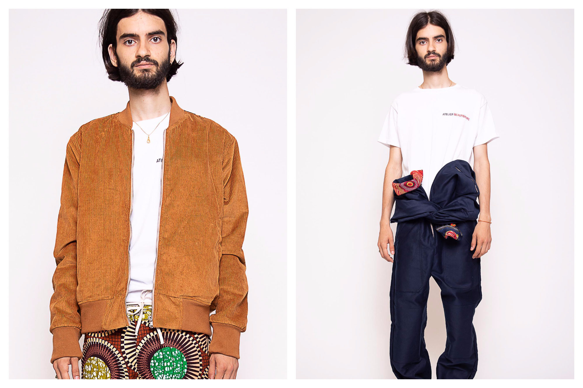 A male model wearing an orange bomber jacket and Africana print trousers (left) and a white t-whirt and jeans (right) from French menswear brand Atelier Beaurepaire.