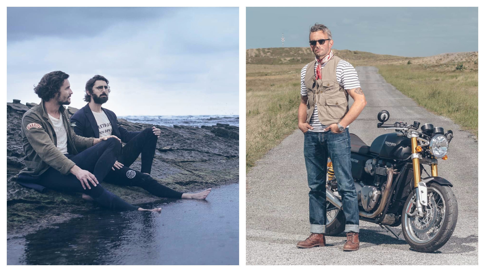 Two male models sat with their feet in the sea, wearing jackets and tight blue jeans (left) and a man standing by his motorbike in the middle of the road wearing blue jeans, a khaki waistcoat and red necktie (right) from French menswear brand L'Egoïste.