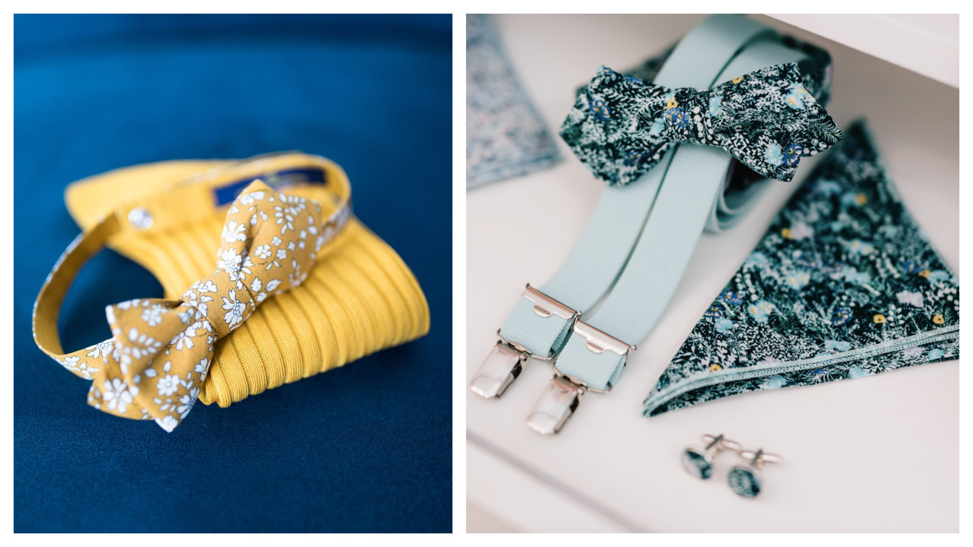 A yellow flower-print bow tie and matching socks on a blue background (left) and mint-green braces, and matching bow tie, cufflinks and handkerchief (right) from French menswear brand Le Colonel Moutarde.