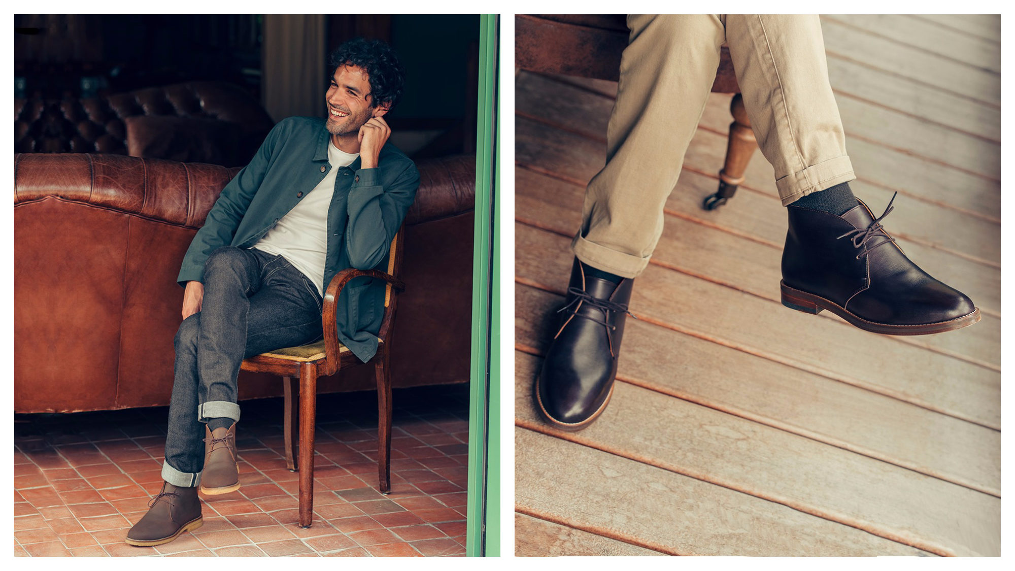 A male model sat on a wooden chair wearing a green shirt, white t-shirt, jeans and boots (left) and a shot of a man's legs and his black boots (right) from French shoe brand Pied de Biche.