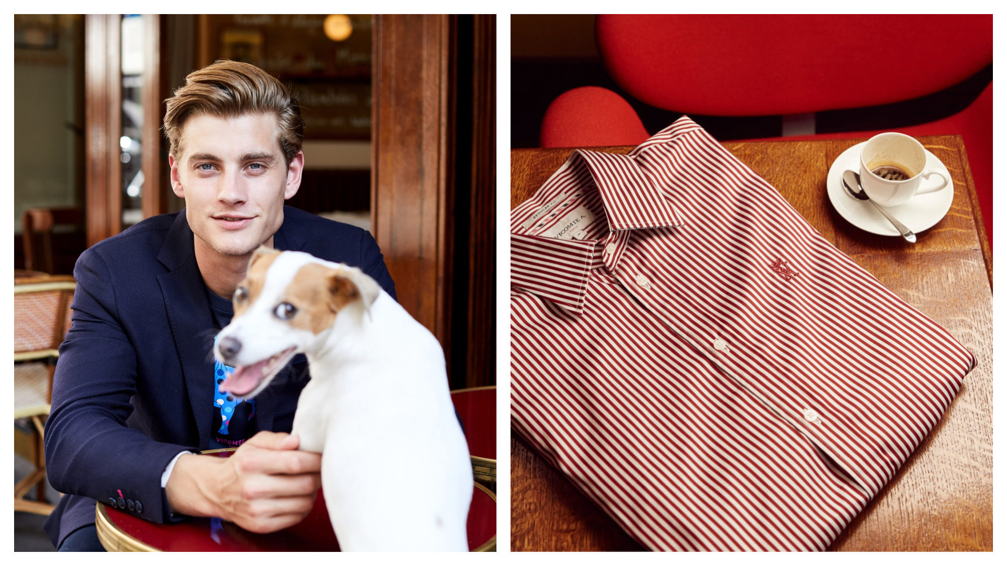 A male model at a Parisian café, wearing a navy sweater, with his dog (left) and a striped red and white shirt on a wooden desk next to an empty cup of coffee (right) from French menswear brand Vicomte A.