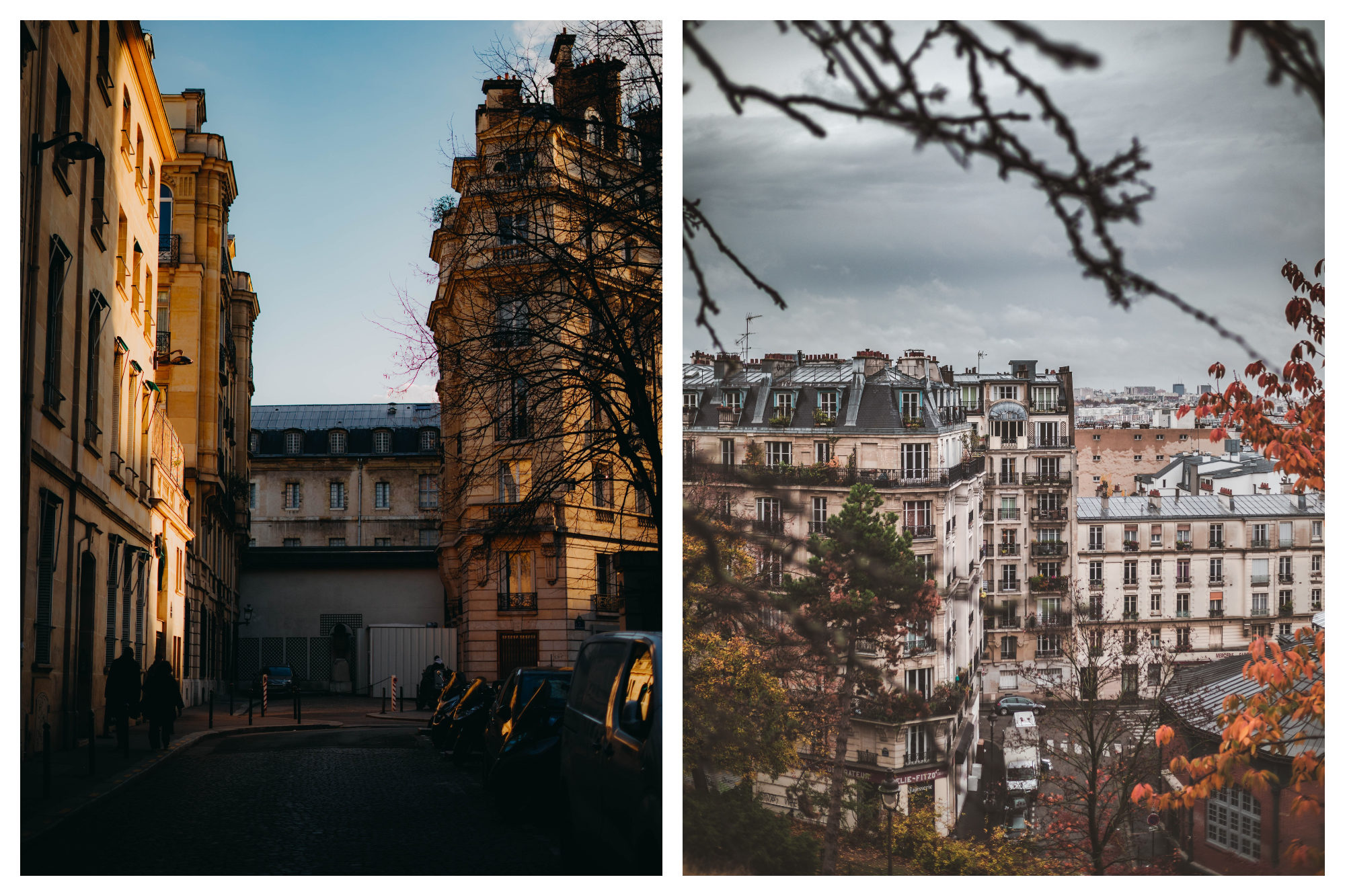 A Paris street corner of stone buildings lit up by the last of the day's sun rays (left). A view of Parisian stone buildings in the winter (right).