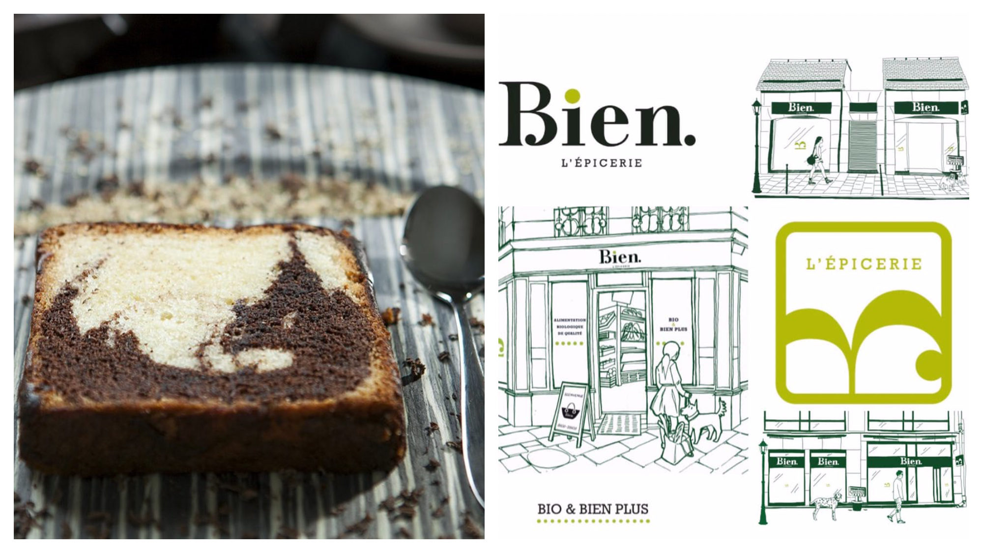 A slice of gluten-free marble cake (left). A sketch of the exterior of one of Bien's gluten-free stores (right).