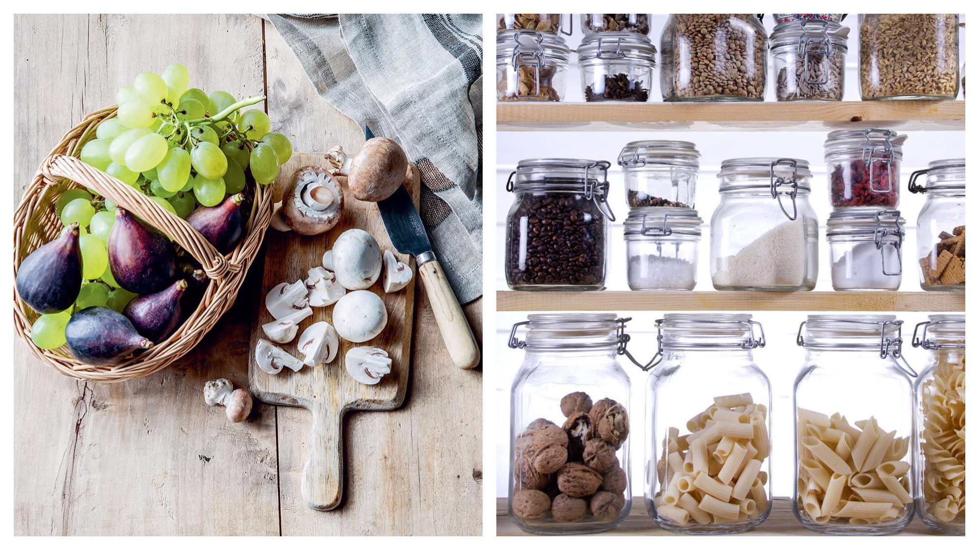 A basket of figs and grapes on a wooden table next to a chopping board of mushrooms (left) and jars of foodstuffs bought at a gluten-free store (right).