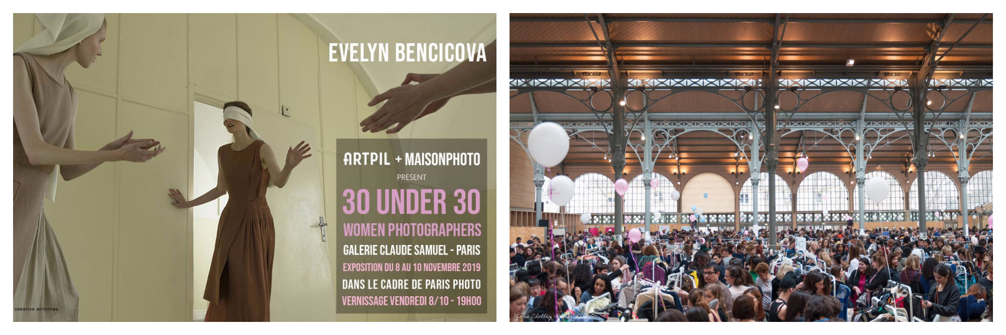 A poster for a photography event in Paris this November (left) and inside a fashion flea market at the Carreau du Temple in the Marais (right).
