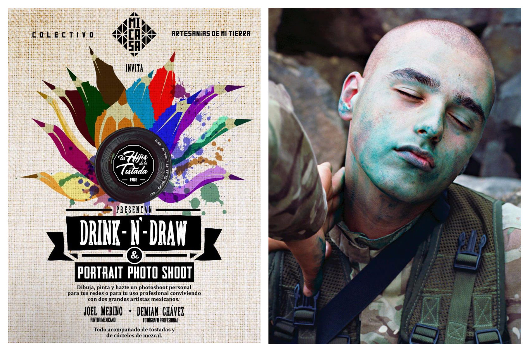 A poster for Drink'n'Draw photography event in Paris  (left) and a photograh of a young man in an army uniform his face covered in green paint (right).