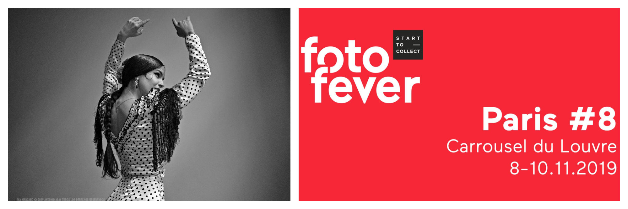 A black and white photo of a flamenco dancer with her arms raised from Paris Photo fair this November (left) and a rest poster for Fotofever (right).