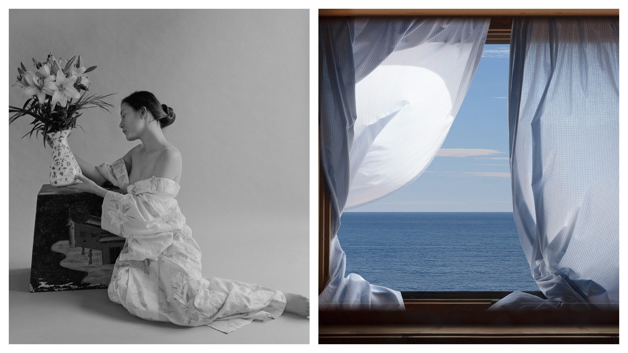 A black and white photograph of a woman wearing a white dress off the shoulders holding at a vase of flowers (left). A photograph of an open window, curtain billowing revealing a blue ocean (right).